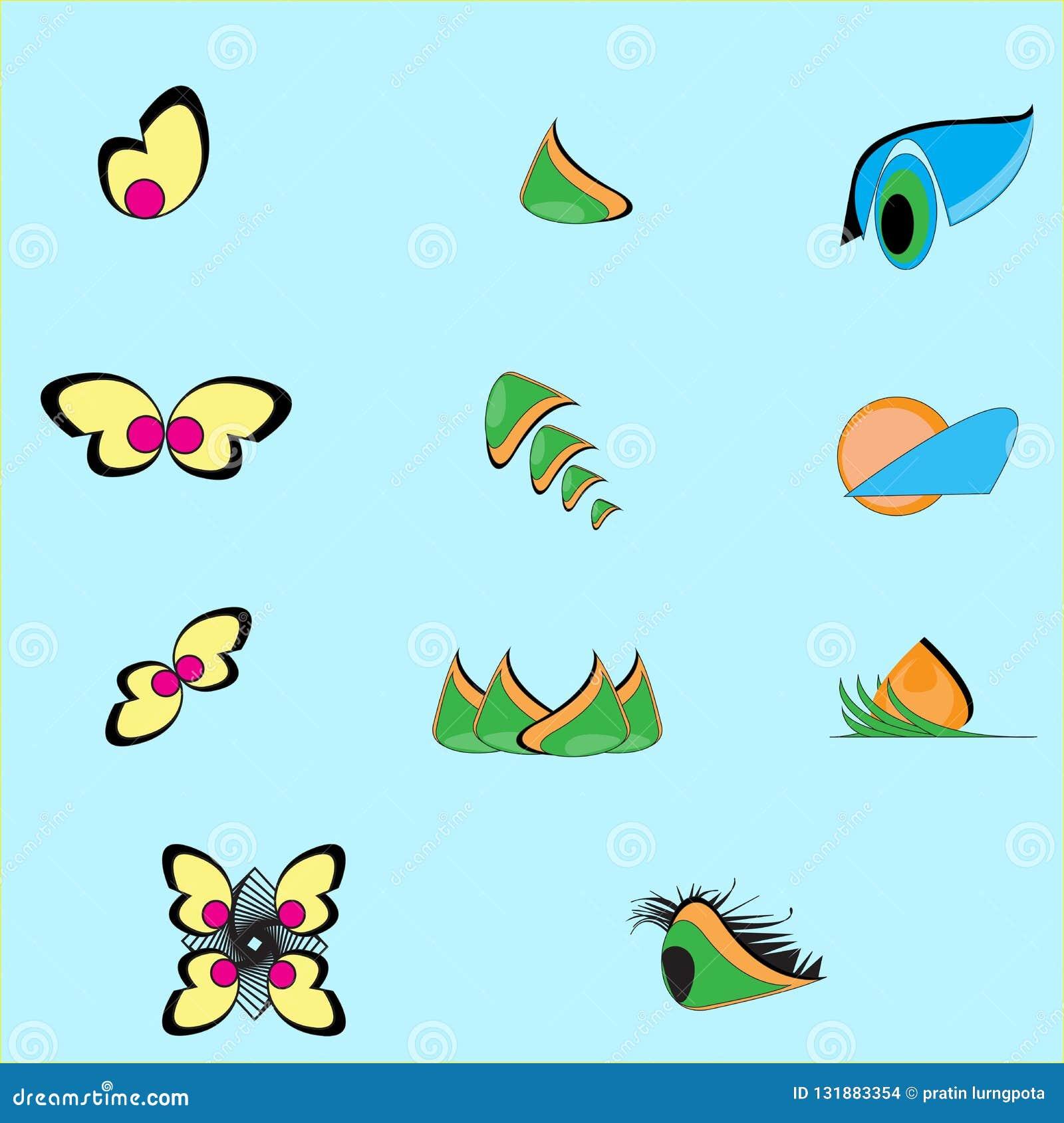 叶子、植物、商标、生态、人们、健康、绿色、叶子、自然标志象套传染媒介设计和动画片