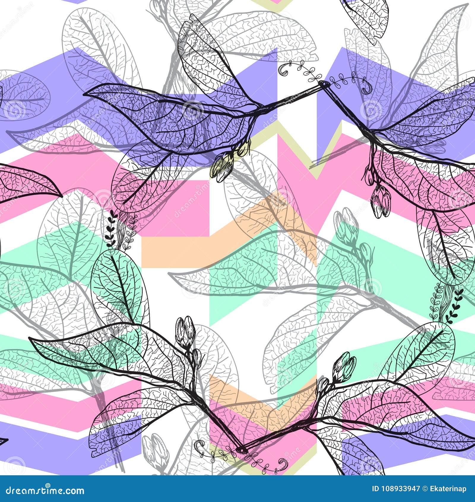 叶子染黑等高,明亮的蓝色淡紫色紫色绿色现代时髦背景 花卉无缝的样式,手拉 几何吸收