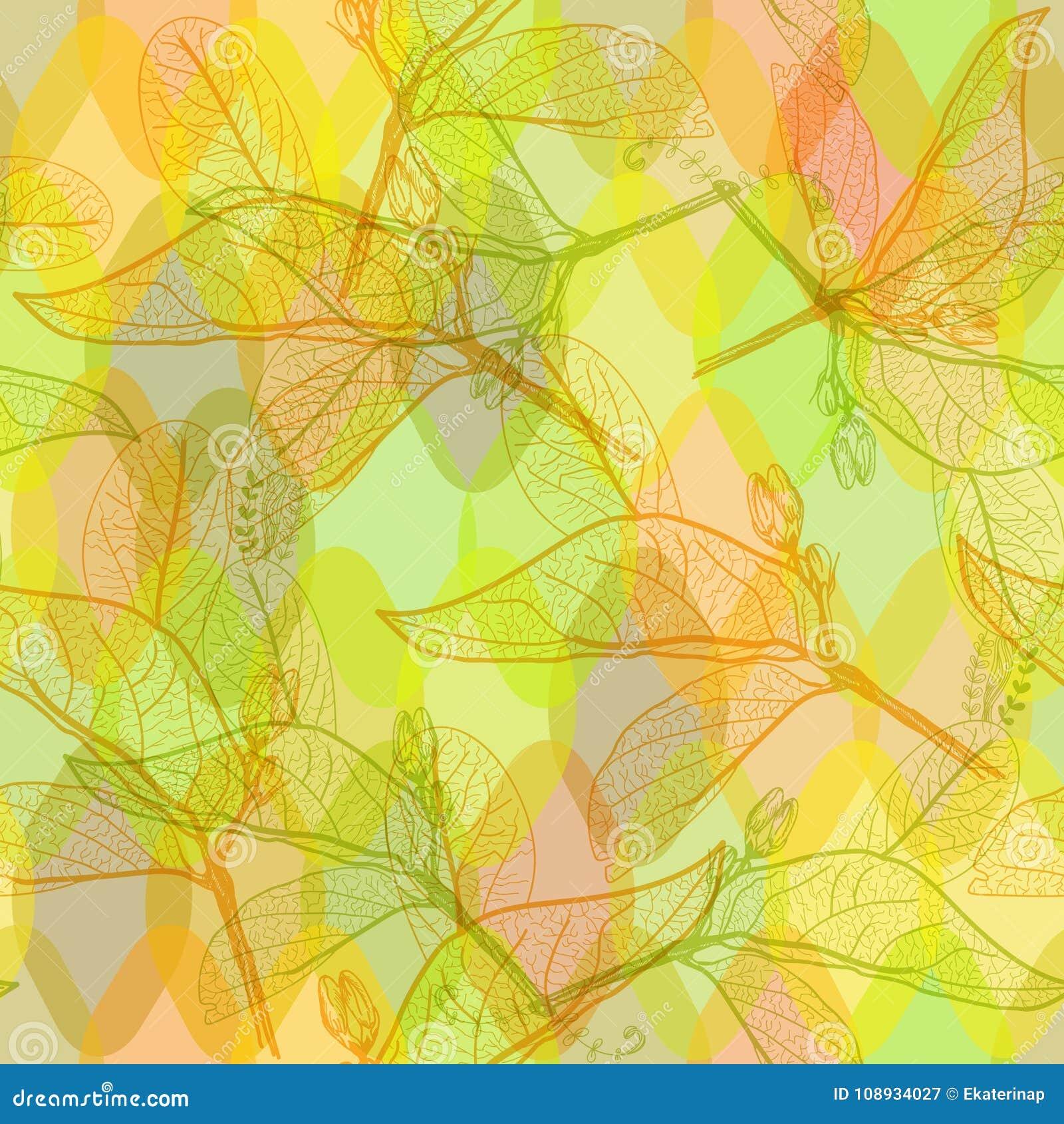 叶子等高,明亮的橙色yelow绿色现代时髦花卉无缝的样式,手拉 站点的,博克抽象背景,