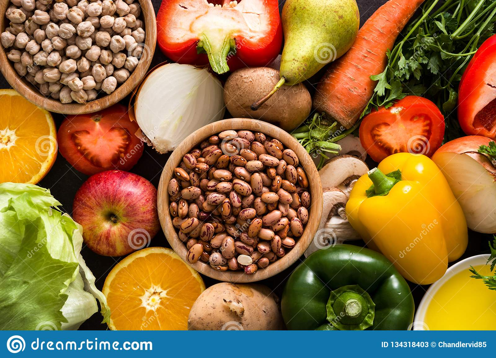 吃健康 地中海的饮食 水果和蔬菜