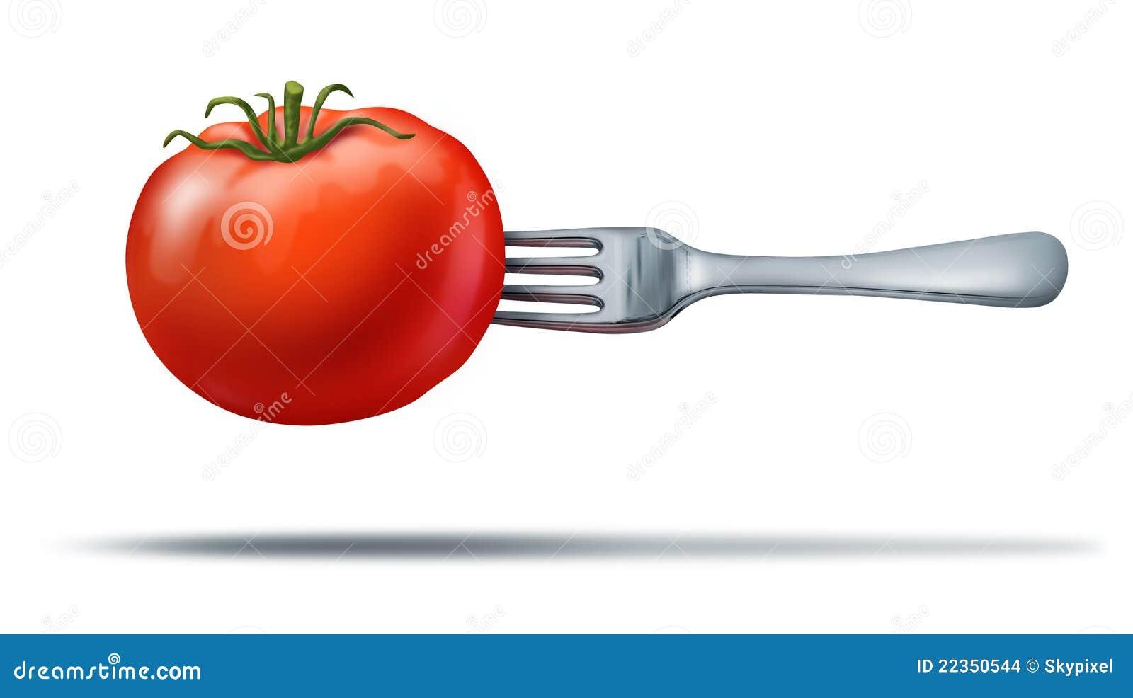 吃叉子健康水多的红色蕃茄