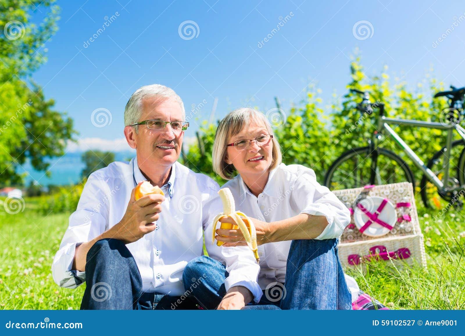 吃和喝在野餐的资深夫妇在夏天
