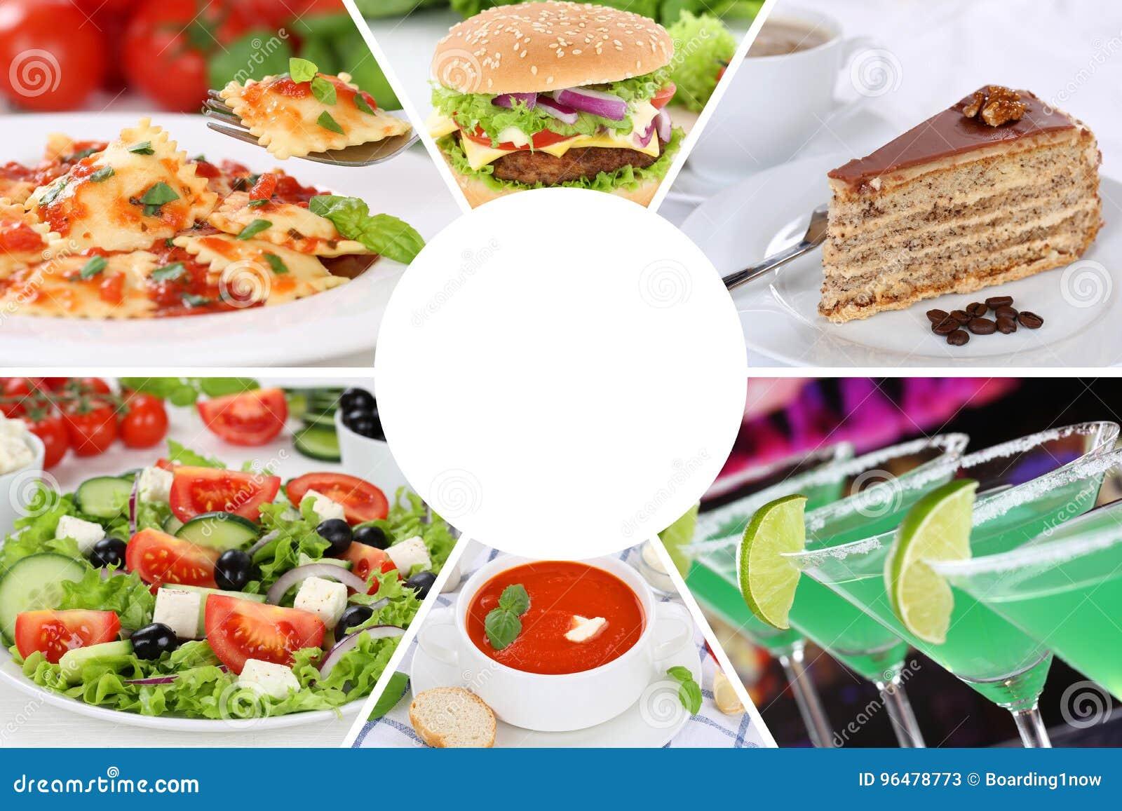 吃汇集拼贴画饮料的食物和饮料菜单喝m