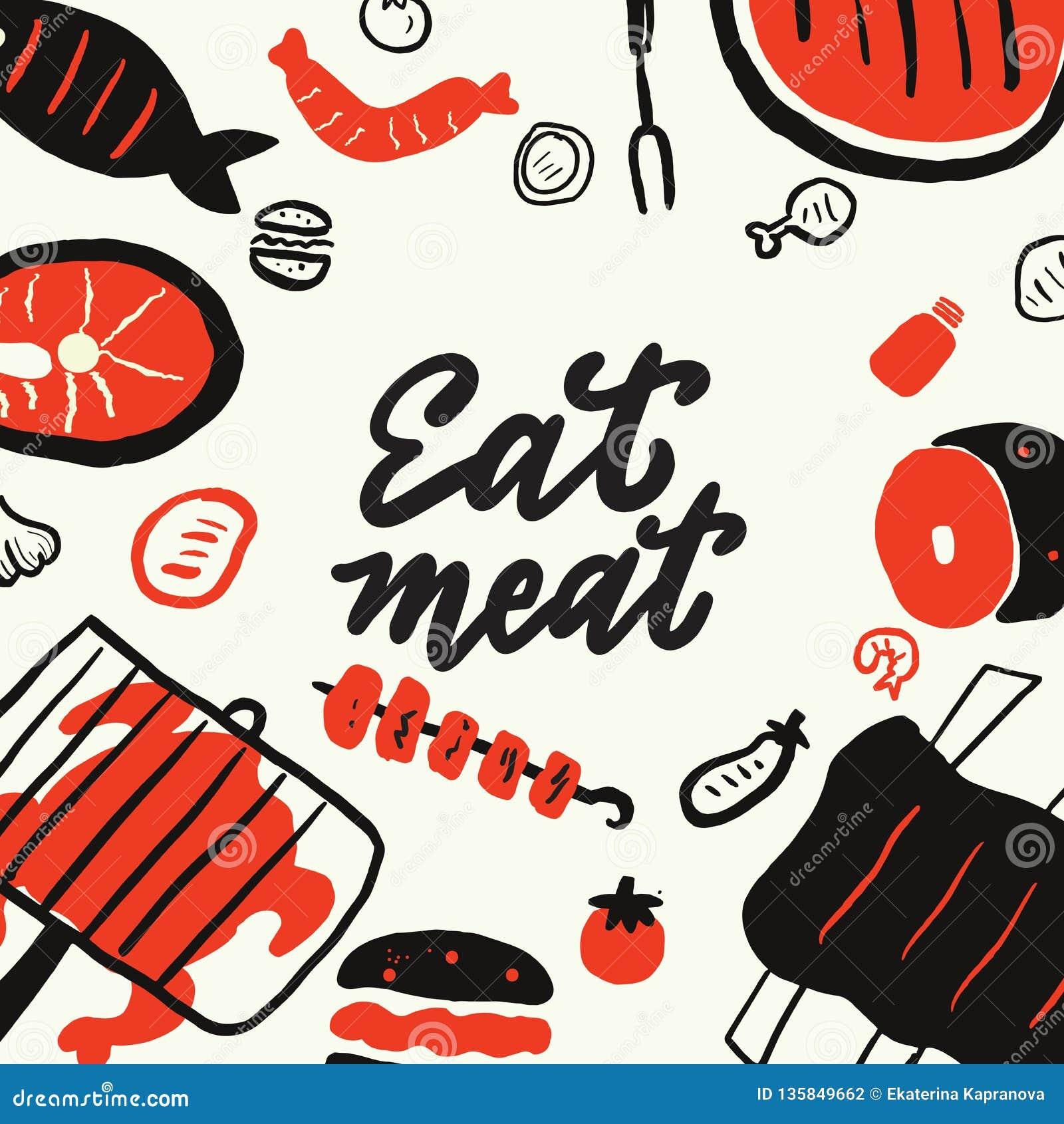 吃肉 用不同的食物元素的滑稽的手拉的背景烤,烤肉,牛排餐馆设计观念 隔绝