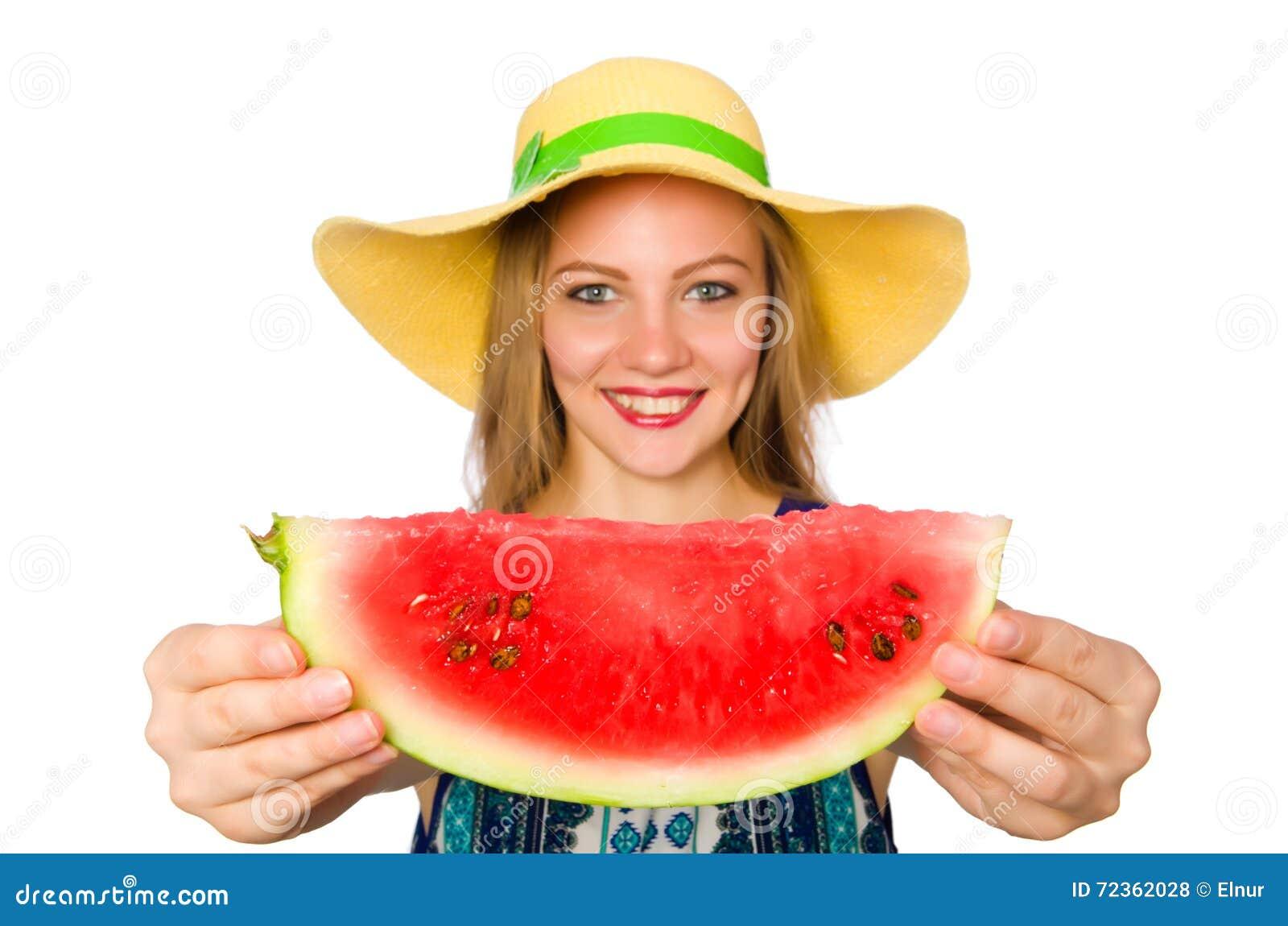 吃西瓜的妇女隔绝在白色