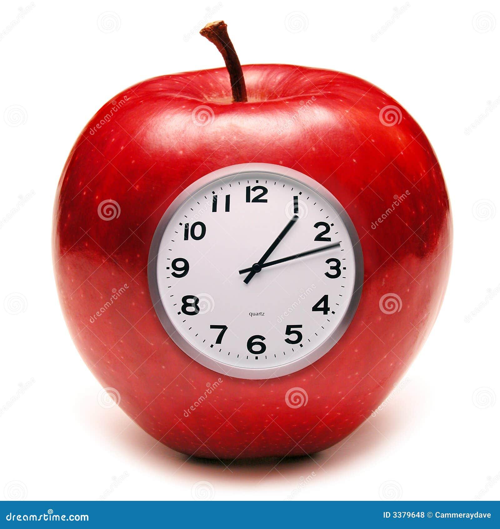 吃食物的苹果时钟健康