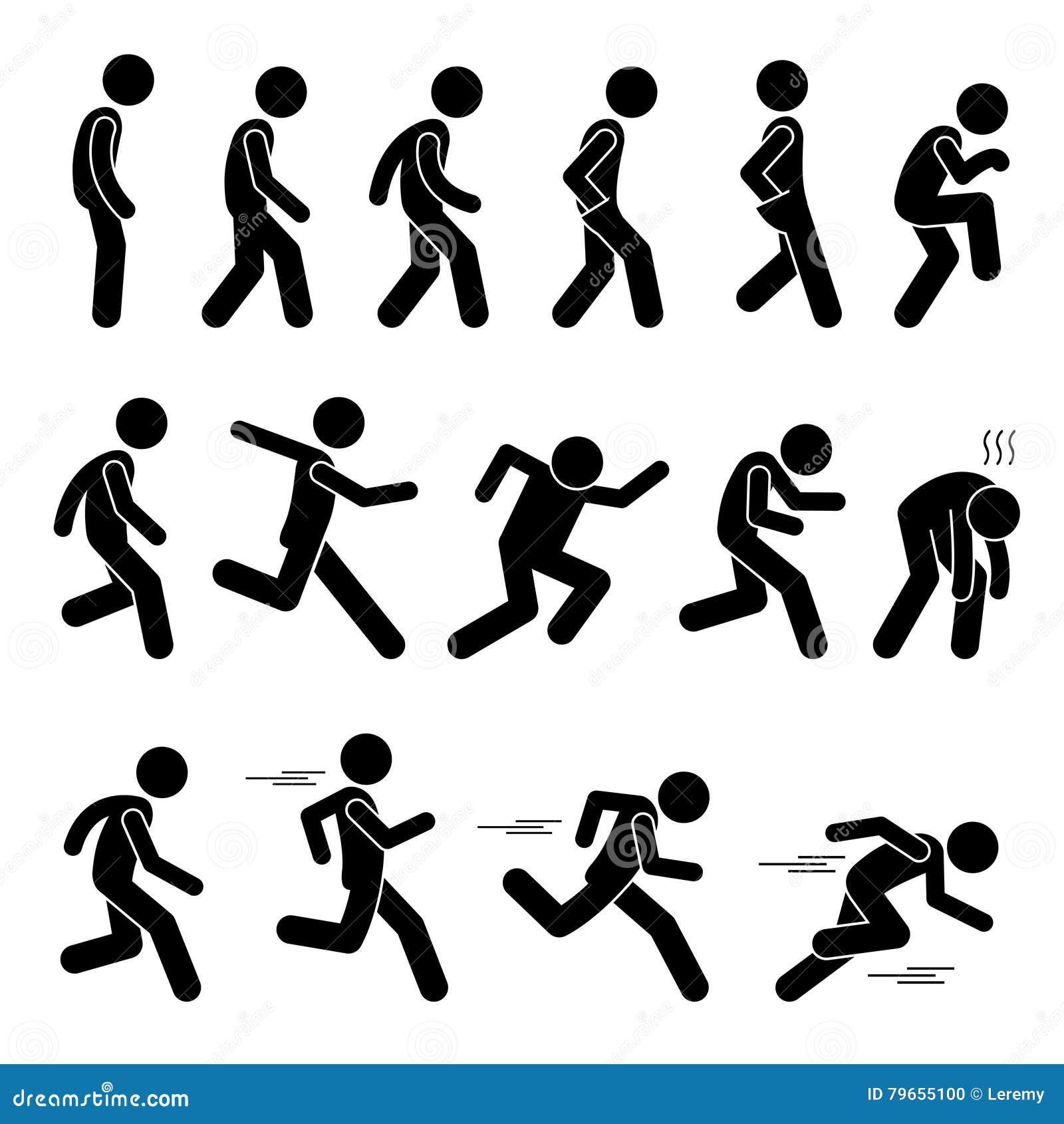 各种各样的人的人人民走的连续赛跑者摆在姿势方式棍子形象Stickman图表象