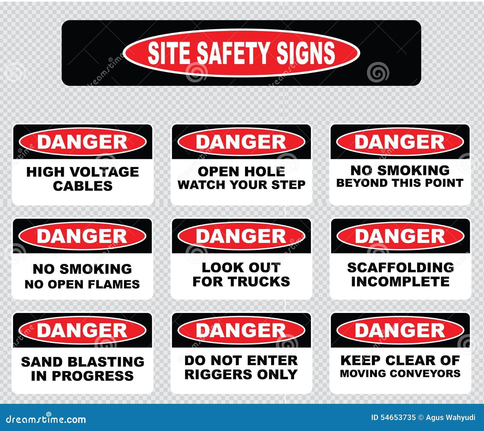 各种各样的危险标志,站点安全标志