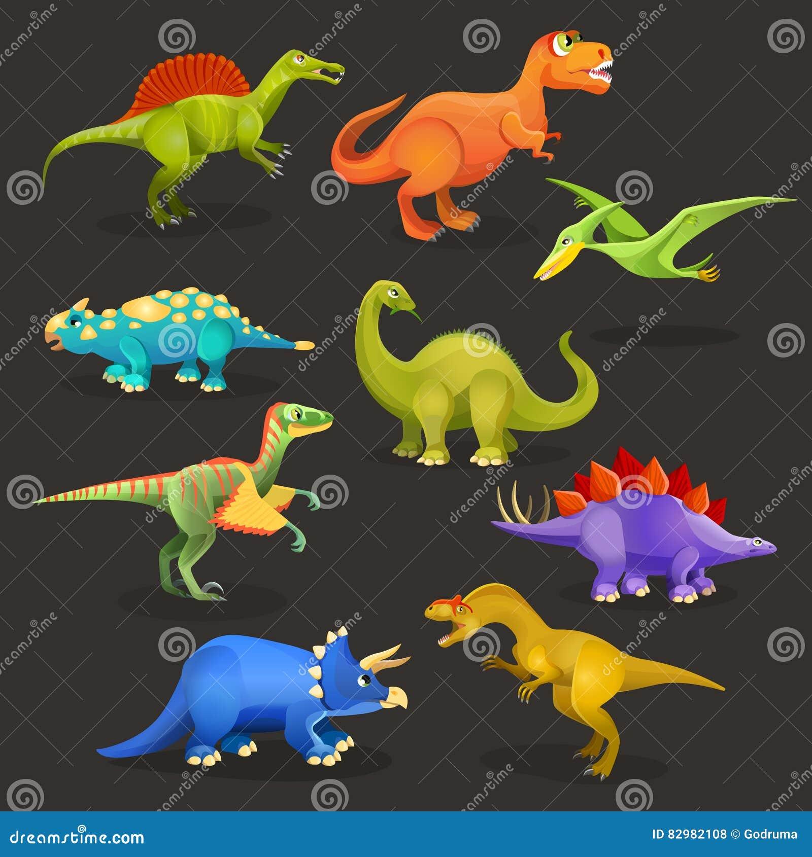 各种各样的恐龙被设置罗纪 滑稽的动画片生物