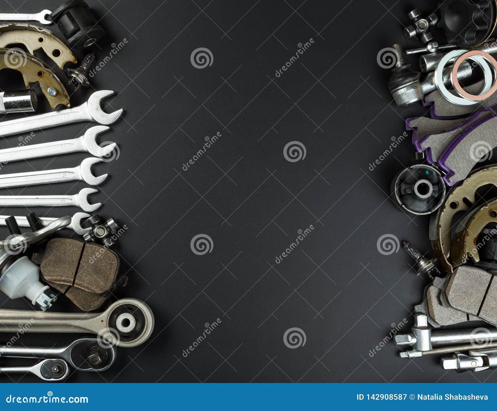 各种各样的汽车零件和工具