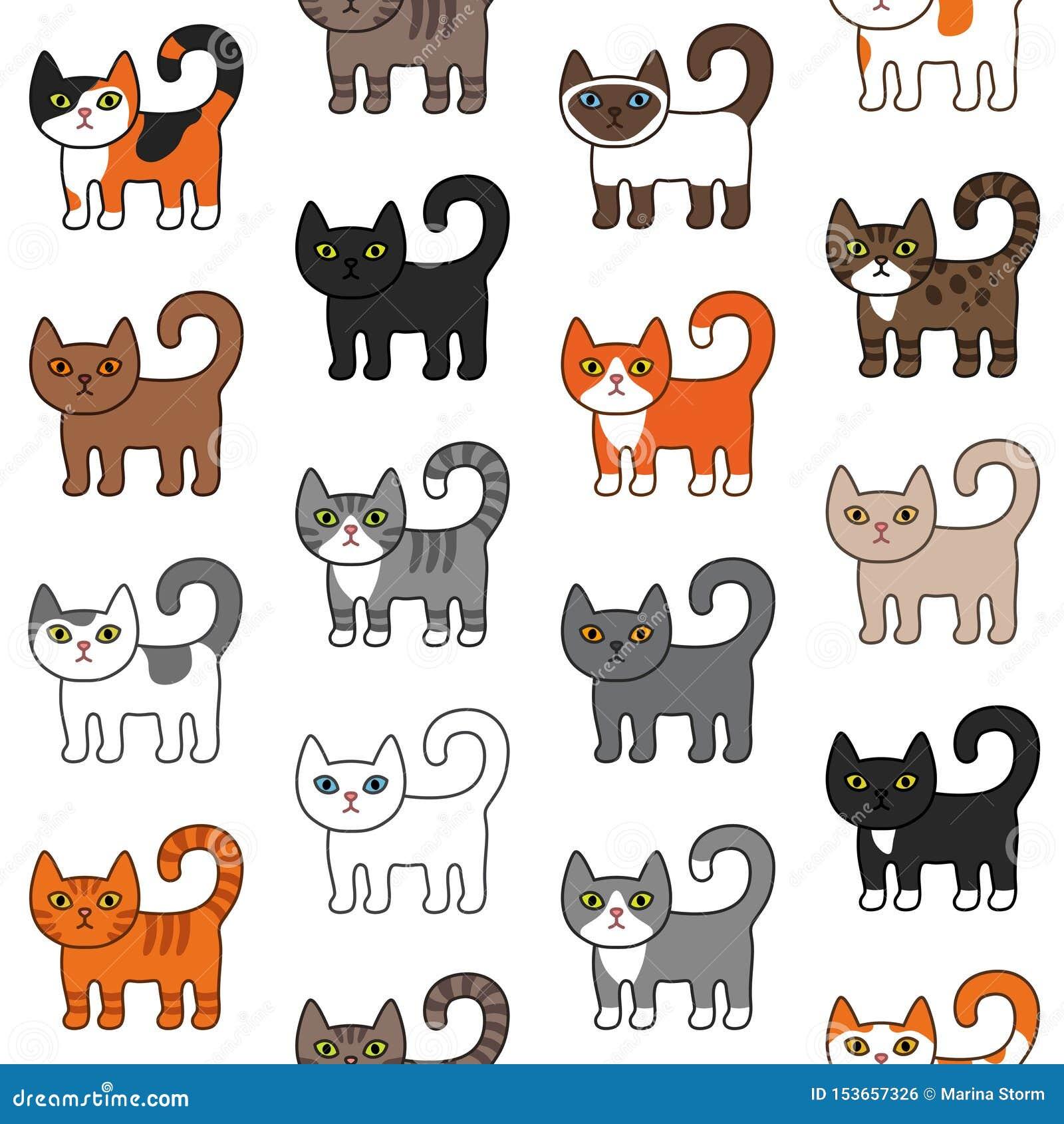 各种各样的猫无缝的样式 逗人喜爱和滑稽的动画片全部赌注猫传染媒介例证不同的猫品种 宠物小猫不同