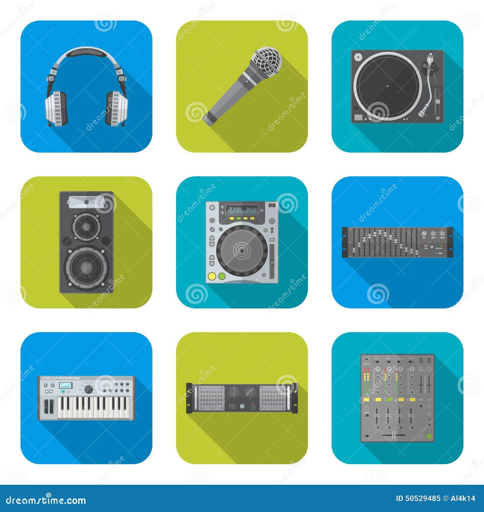 各种各样的被设置的颜色平的样式声音设备象