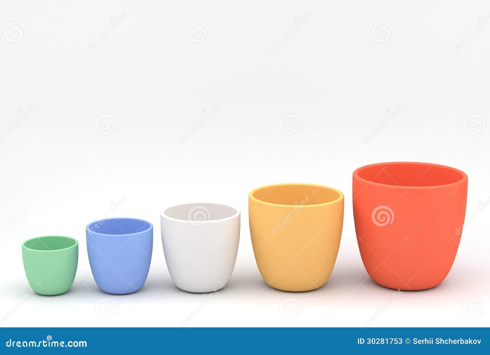 各种各样的颜色陶瓷花盆集合