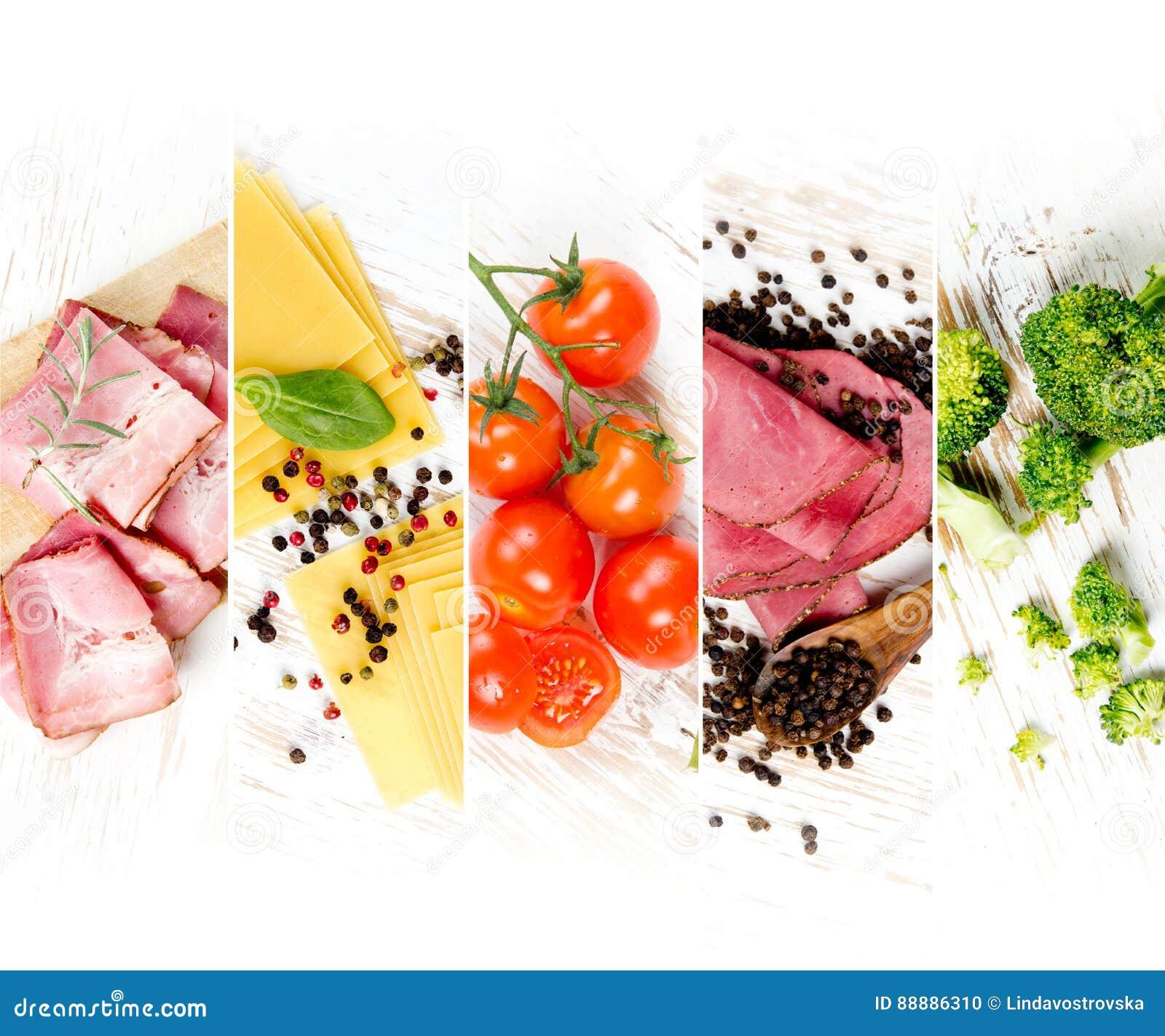 各种各样的食物混合
