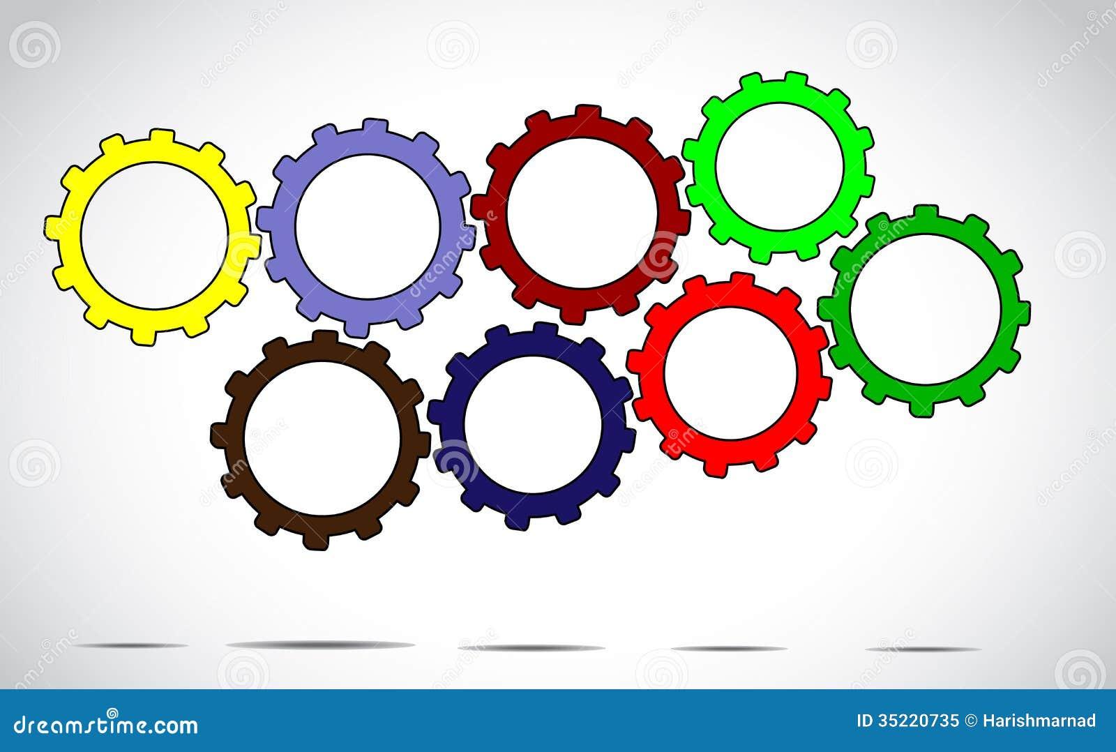 合作工作或成功构思设计例证艺术-另外五颜六色的嵌齿轮轮子或齿轮