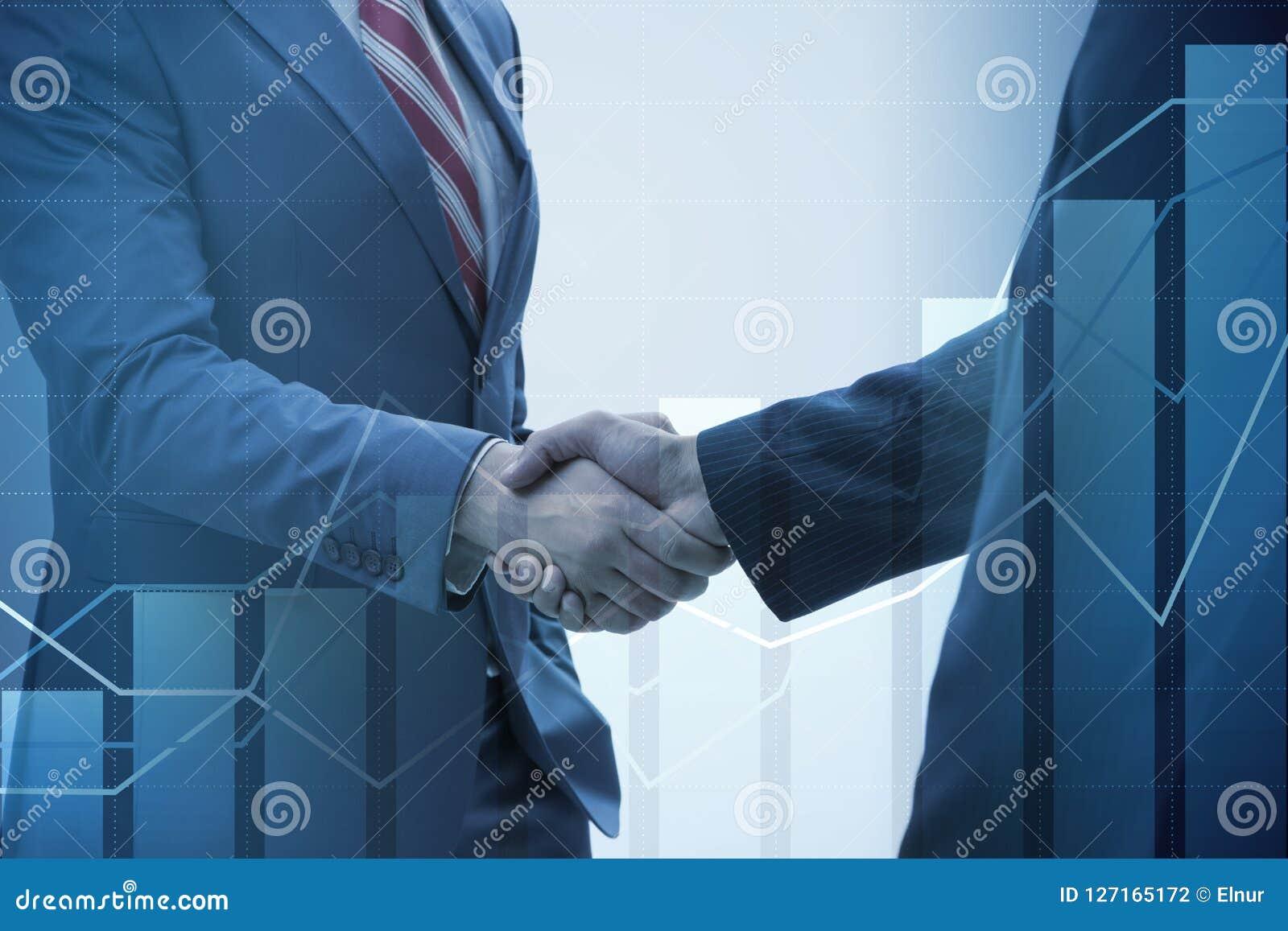 合作的企业概念与握手的