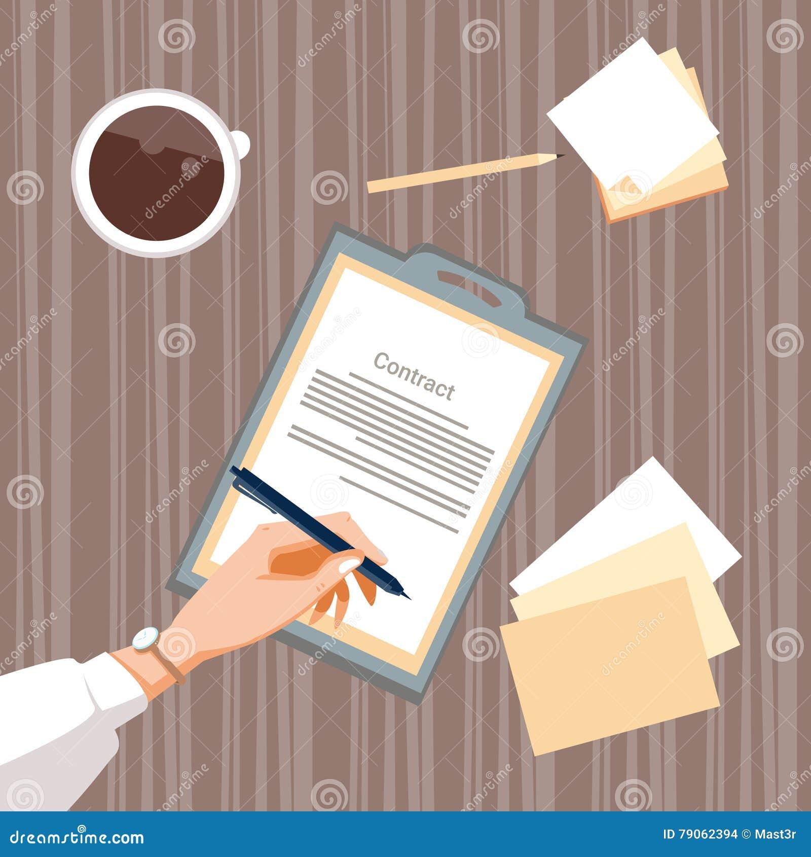 合同报名参加纸张文件商人协议笔署名办公桌
