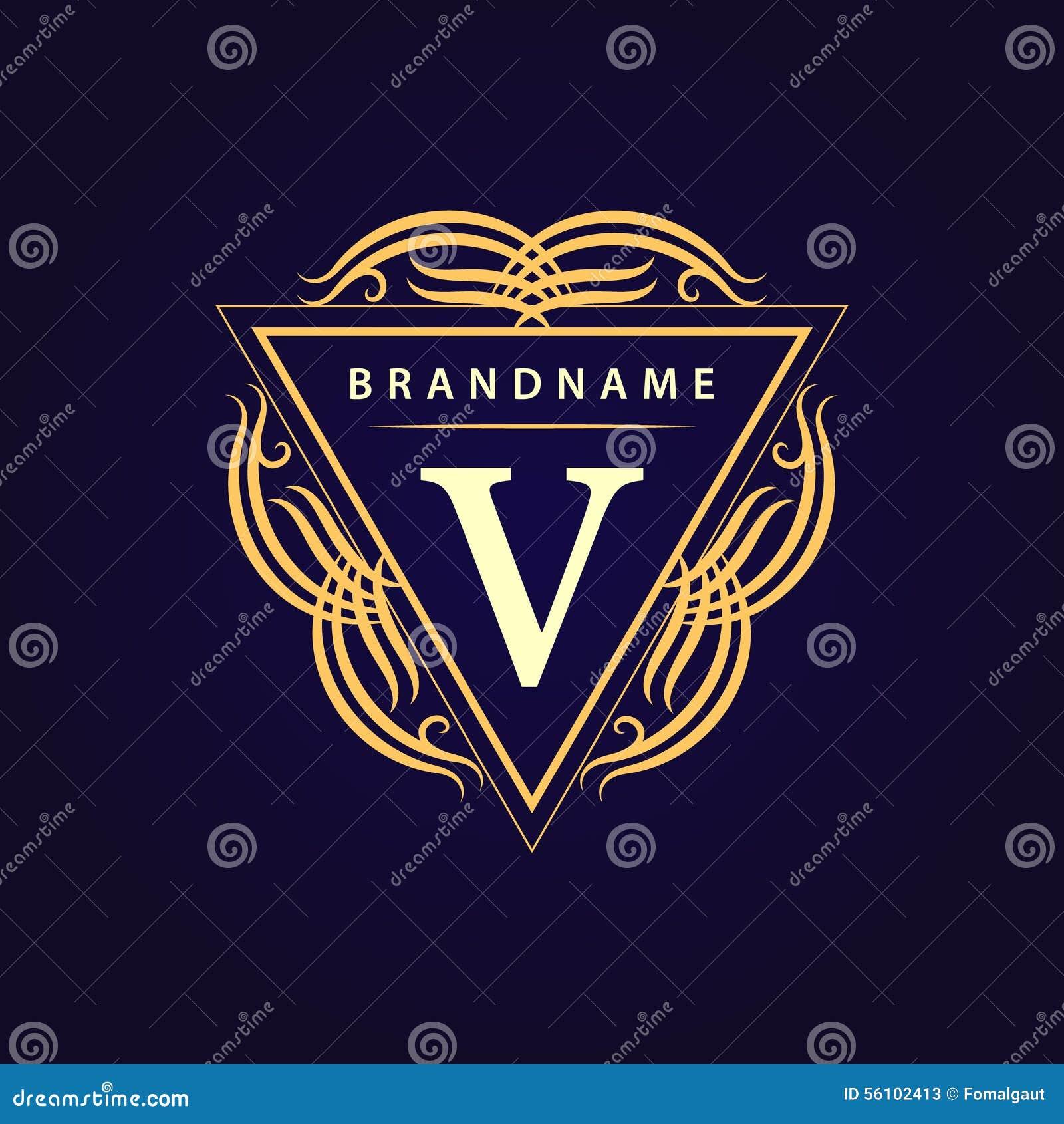 组合图案设计元素,优美的模板 书法典雅的线艺术商标设计 信函v 皇族的, Bouti企业标志