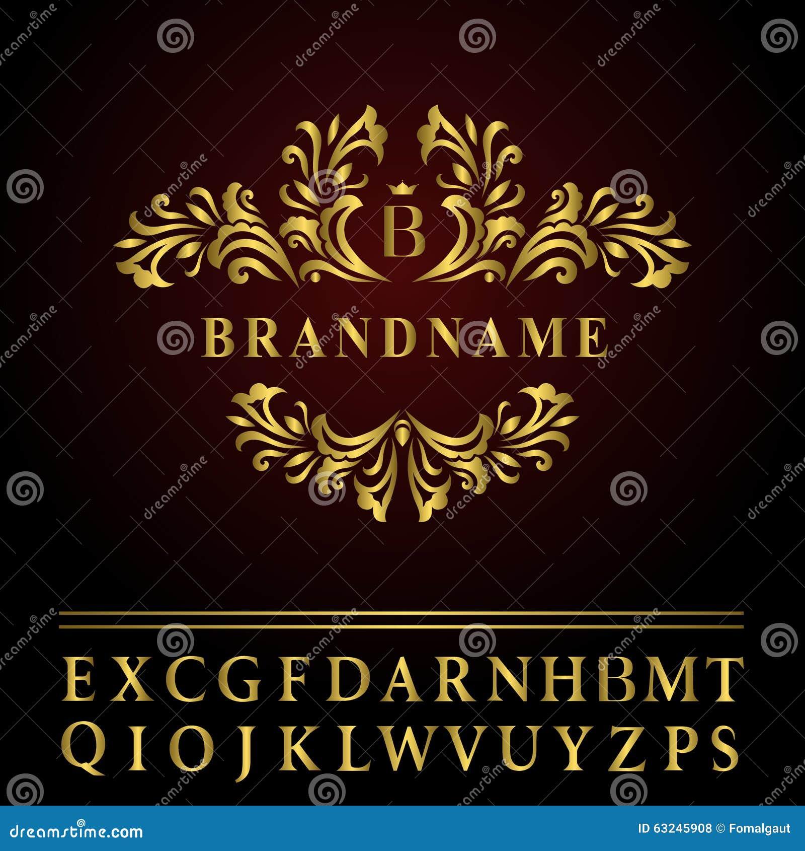 组合图案设计元素,优美的模板 典雅的线艺术商标设计 企业金餐馆的,皇族象征信件B,