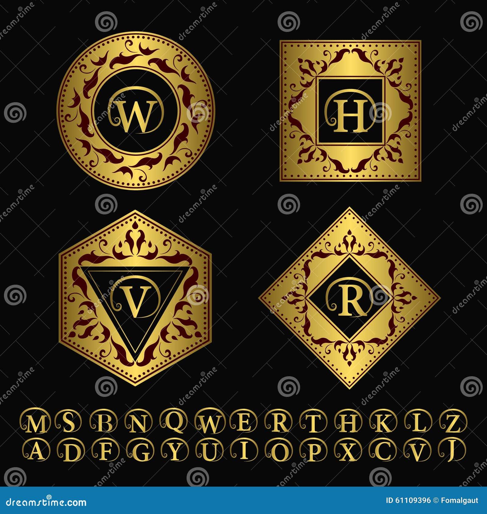 组合图案设计元素,优美的模板 典雅的线艺术商标设计 套金子企业标志,餐馆的,罗伊身分