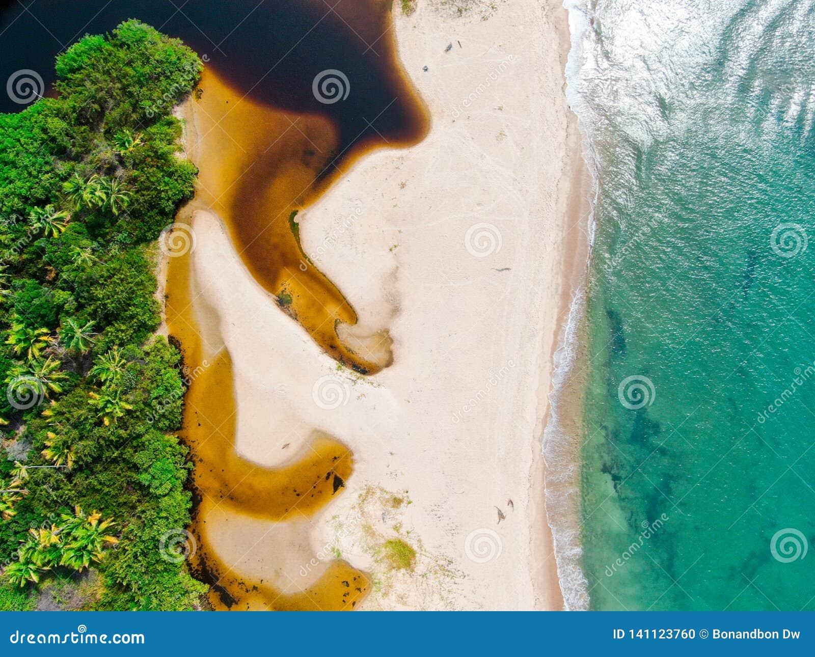 合并对热带白色沙滩和绿松石明白海水的河空中顶视图