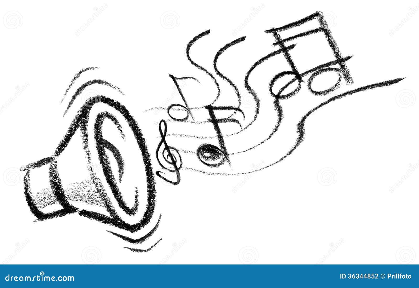 一位报告人的蜡笔速写的例证与音符的.图片