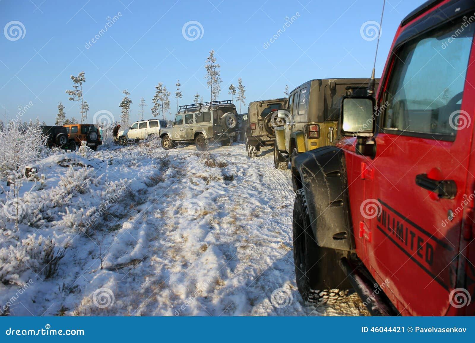 吉普争吵者在冬天森林里,俄罗斯