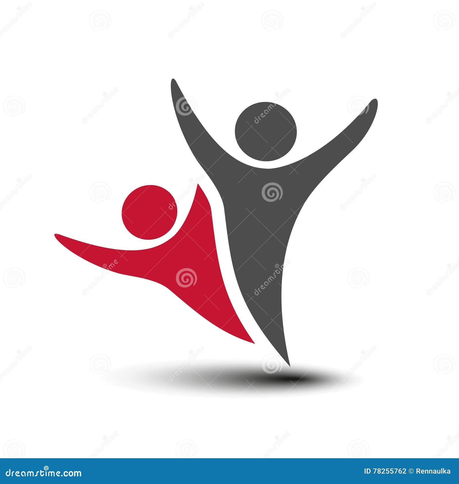 同时被加入的人象 红色和灰色社区标志 两个伙伴的人的标志 身体Silhouttes与透明度shado的