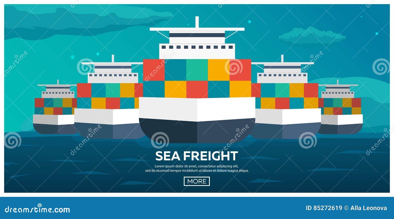 后勤海的运输 船运 海运输 商船 活动货物汉堡端口船 传染媒介平的例证