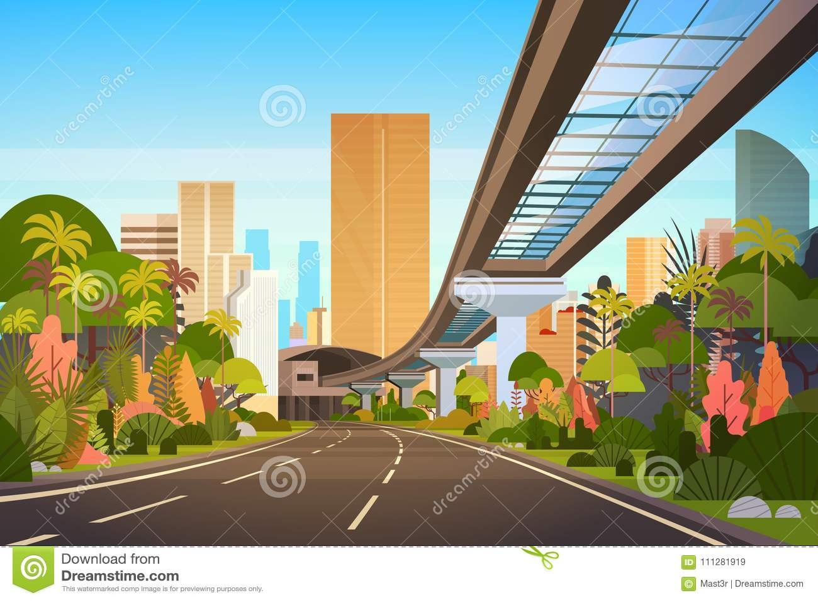 向城市地平线的高速公路路与现代摩天大楼和铁路都市风景视图