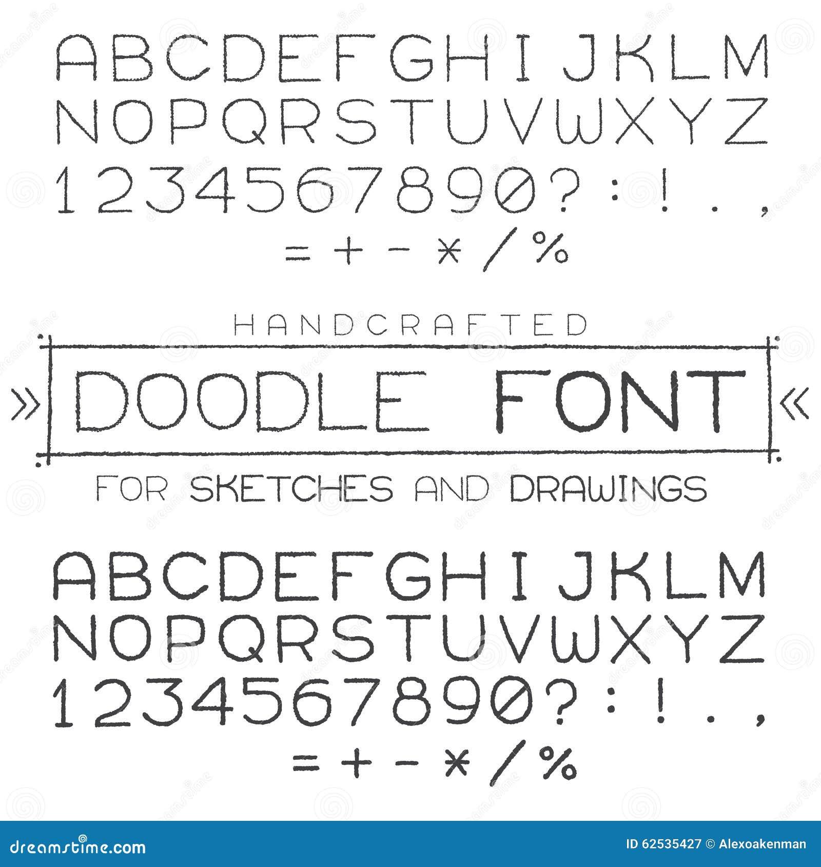 向量字体或字母表在乱画样式与数字和标点符号