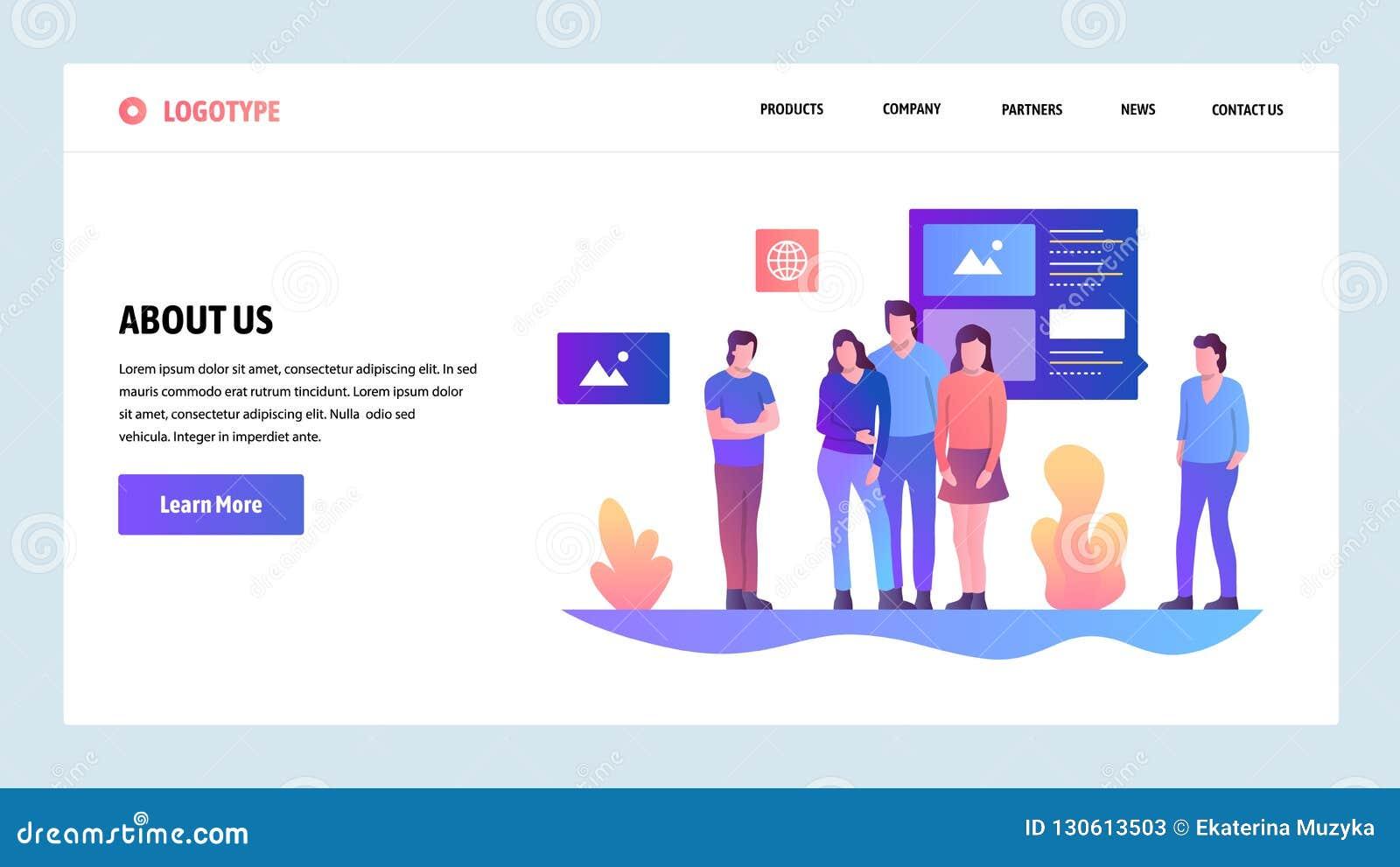 向量网站设计模板 关于美国公司和队信息页 着陆网站的页概念和
