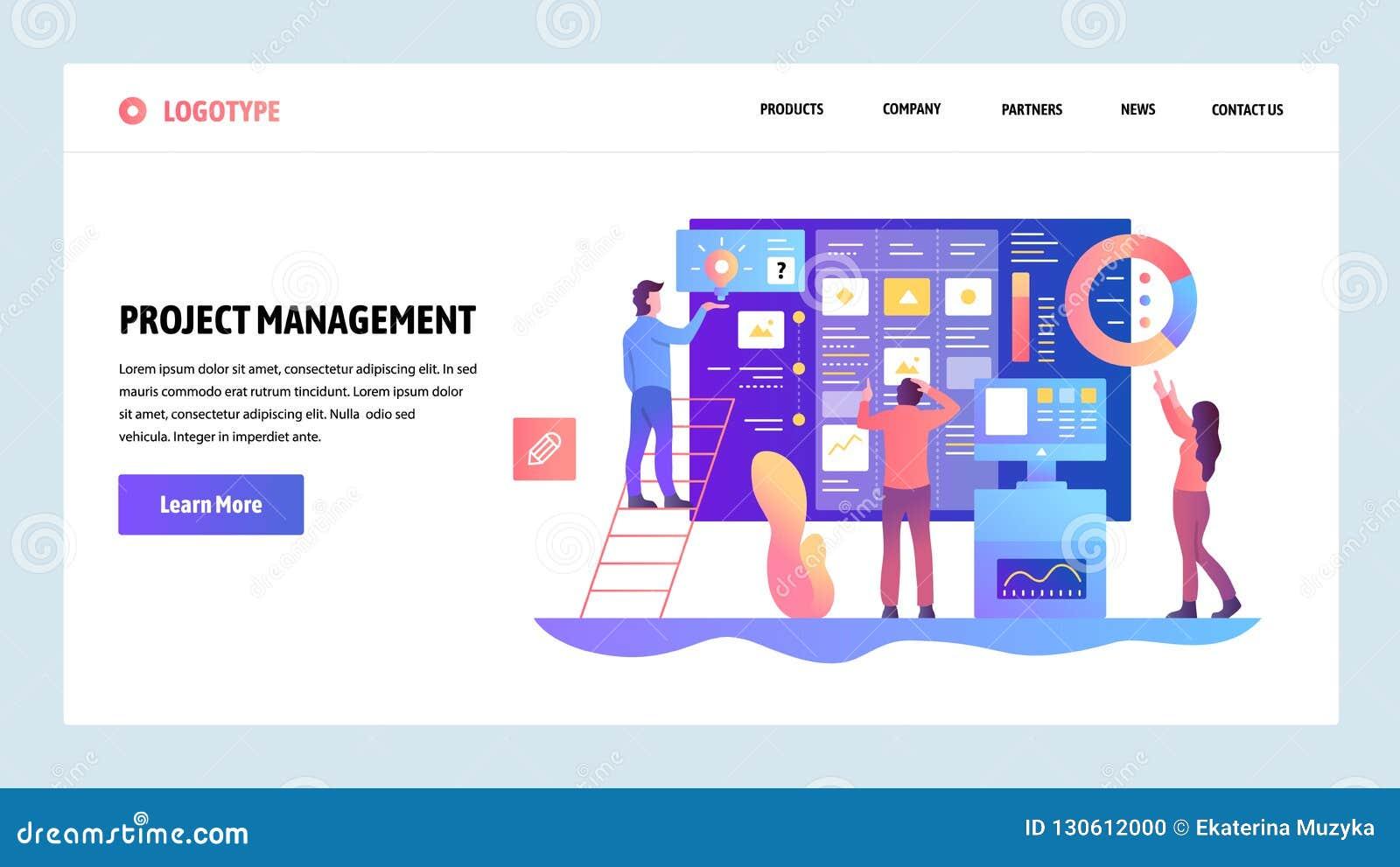 向量网站设计模板 敏捷项目管理和企业配合 着陆网站的页概念和