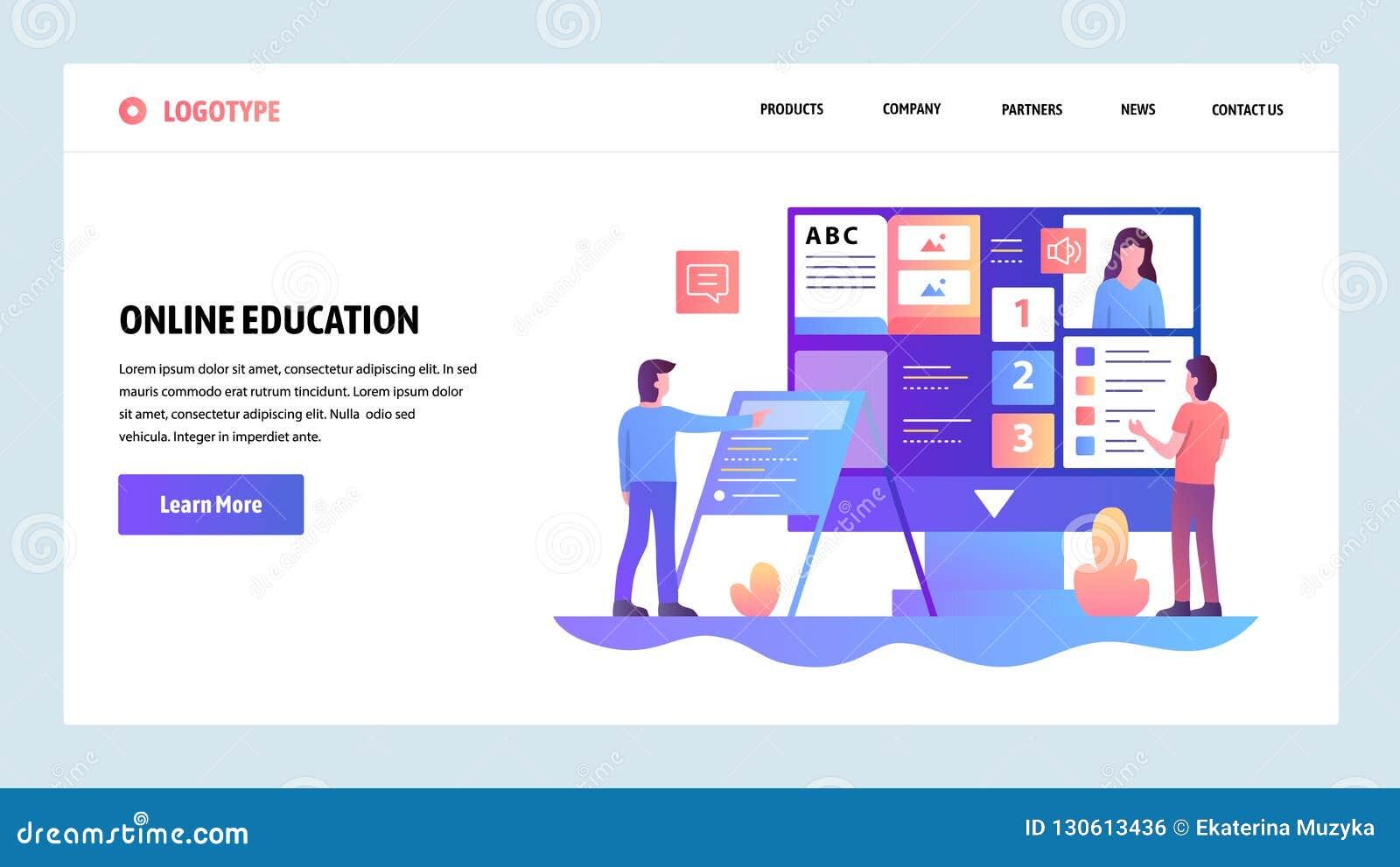 向量网站设计模板 网上教育和电子教学路线 网站和机动性的登陆的页概念
