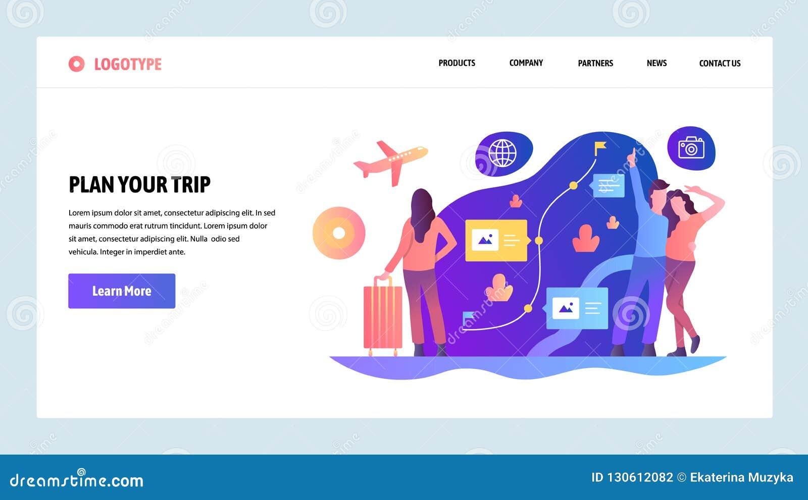 向量网站设计模板 计划您的旅行并且去旅行 预定的路线飞行和 着陆页概念为