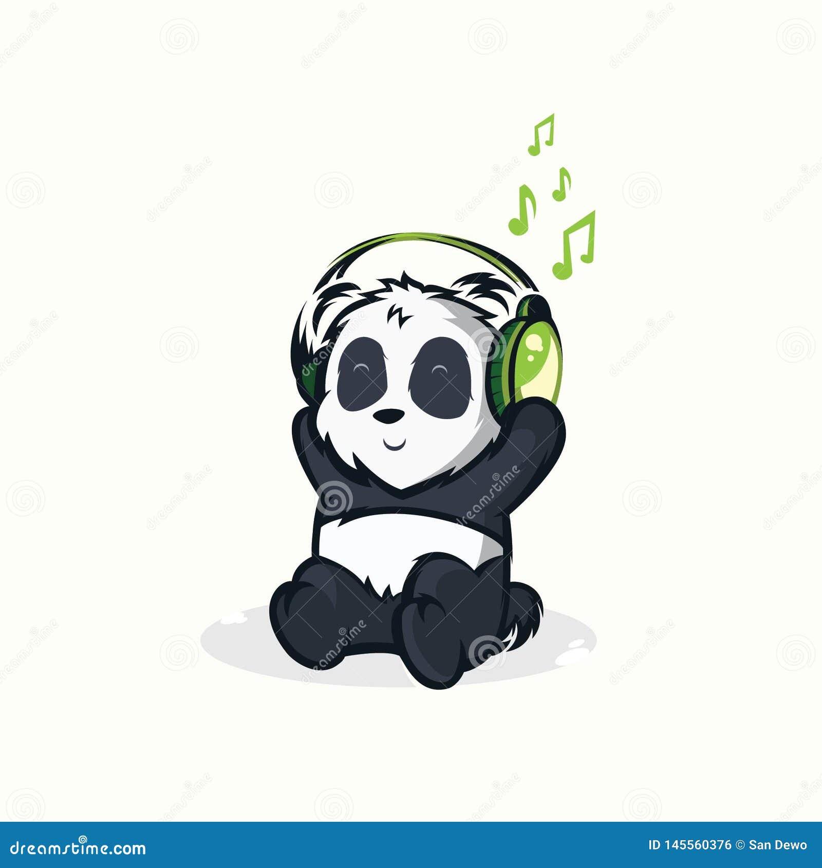 听到音乐的滑稽的熊猫的例证