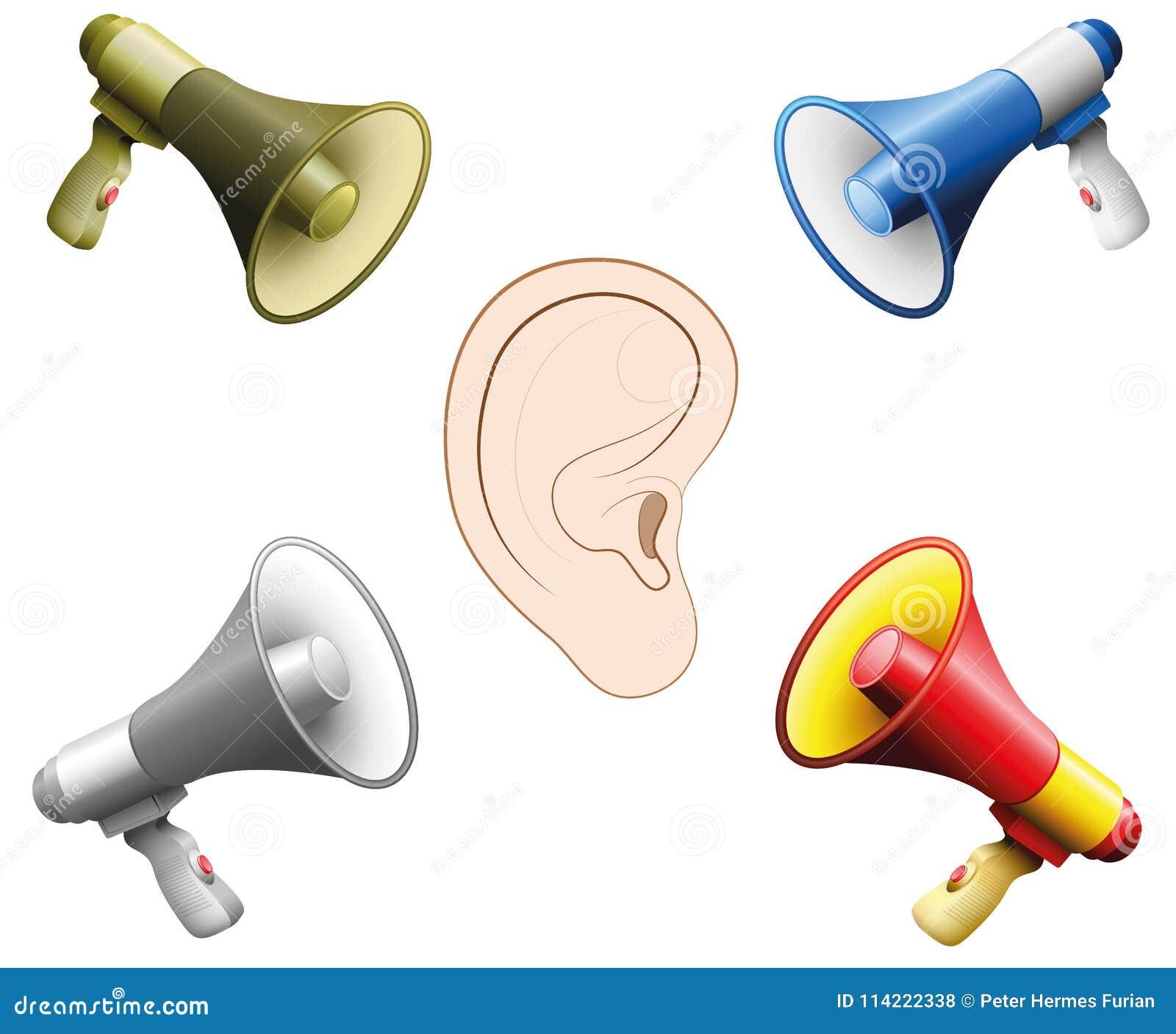 听力损伤耳朵噪声声浪扩音机