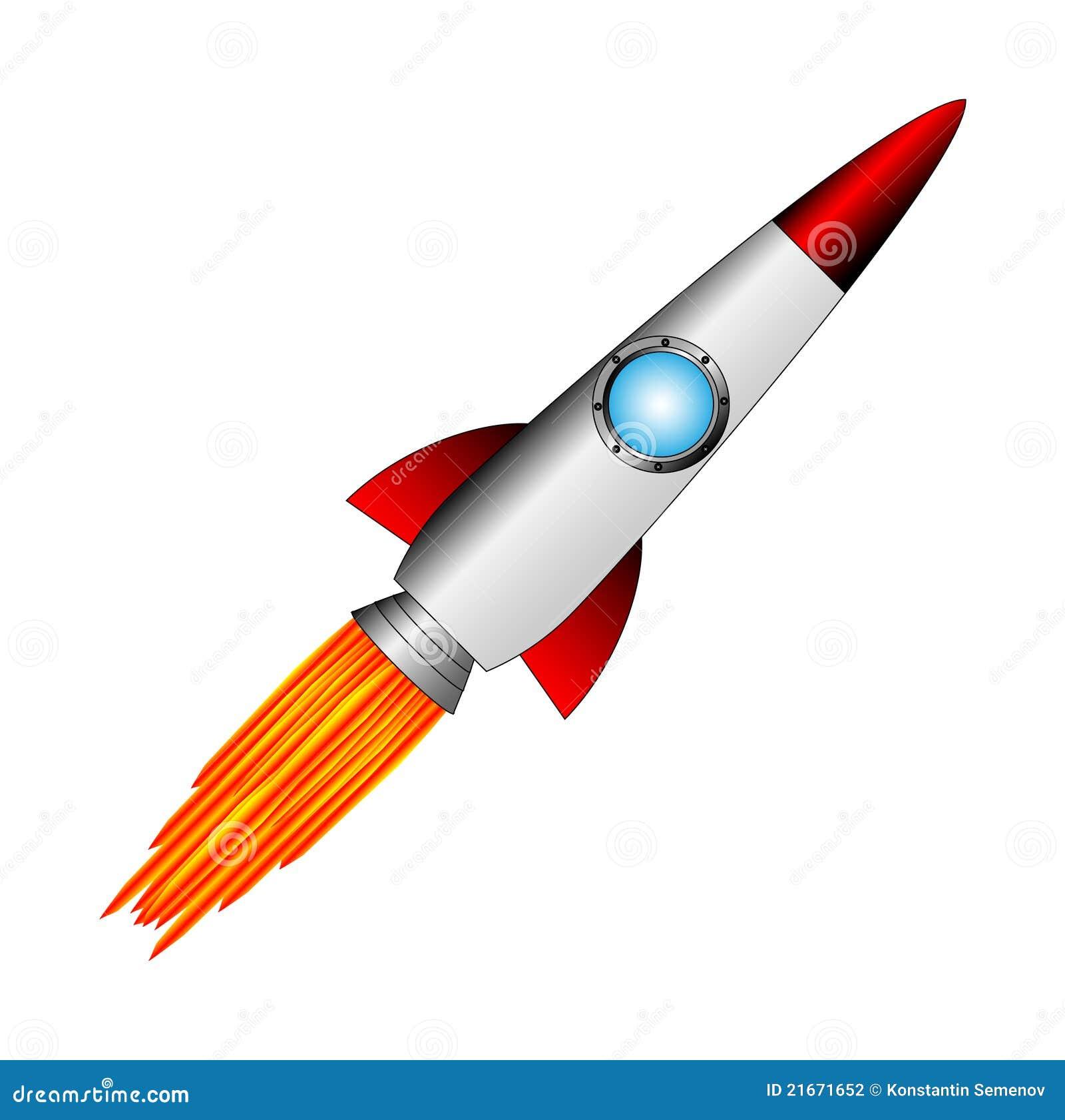 启动在空白背景的火箭.图片