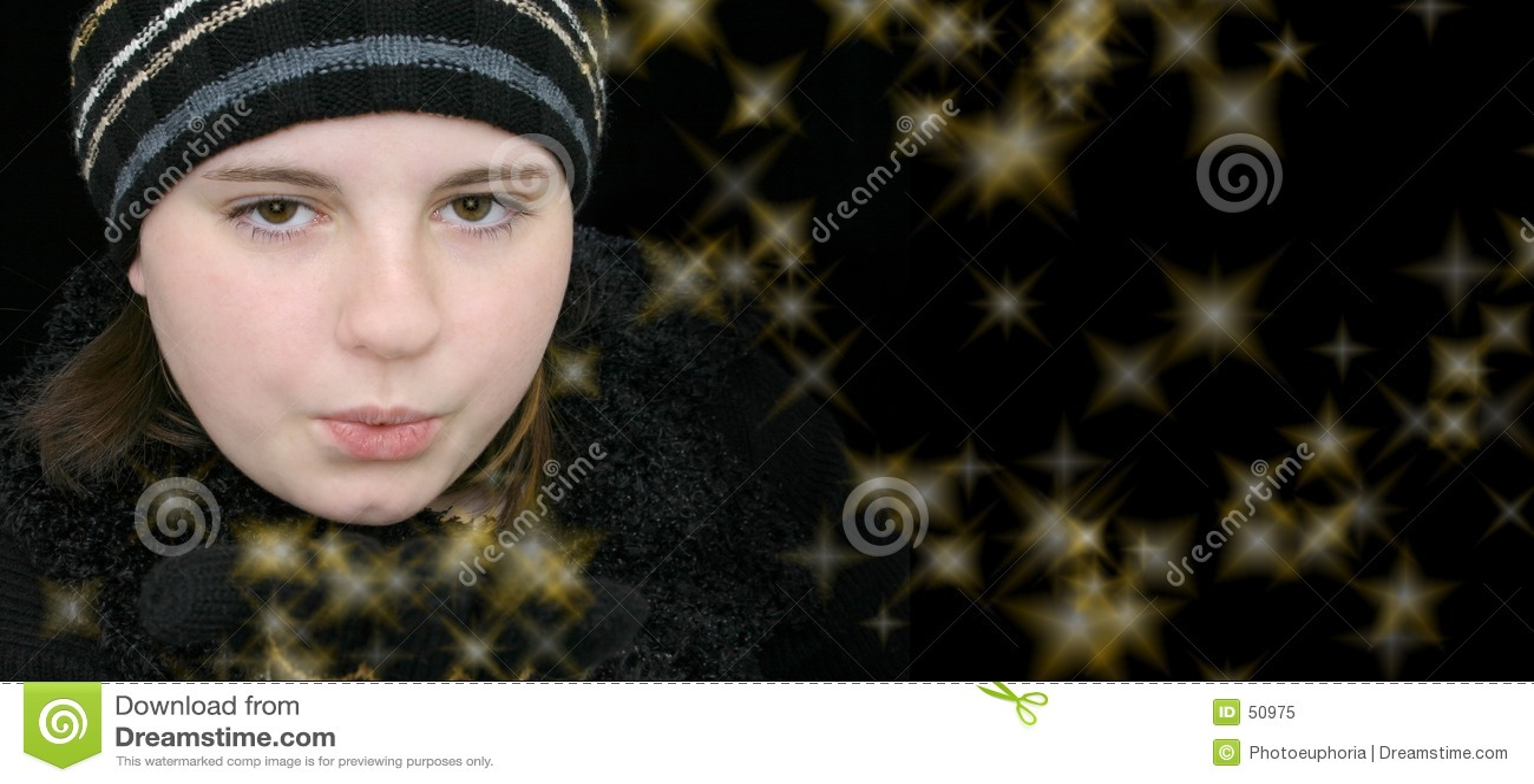 吹的女孩魔术星形青少年的冬天