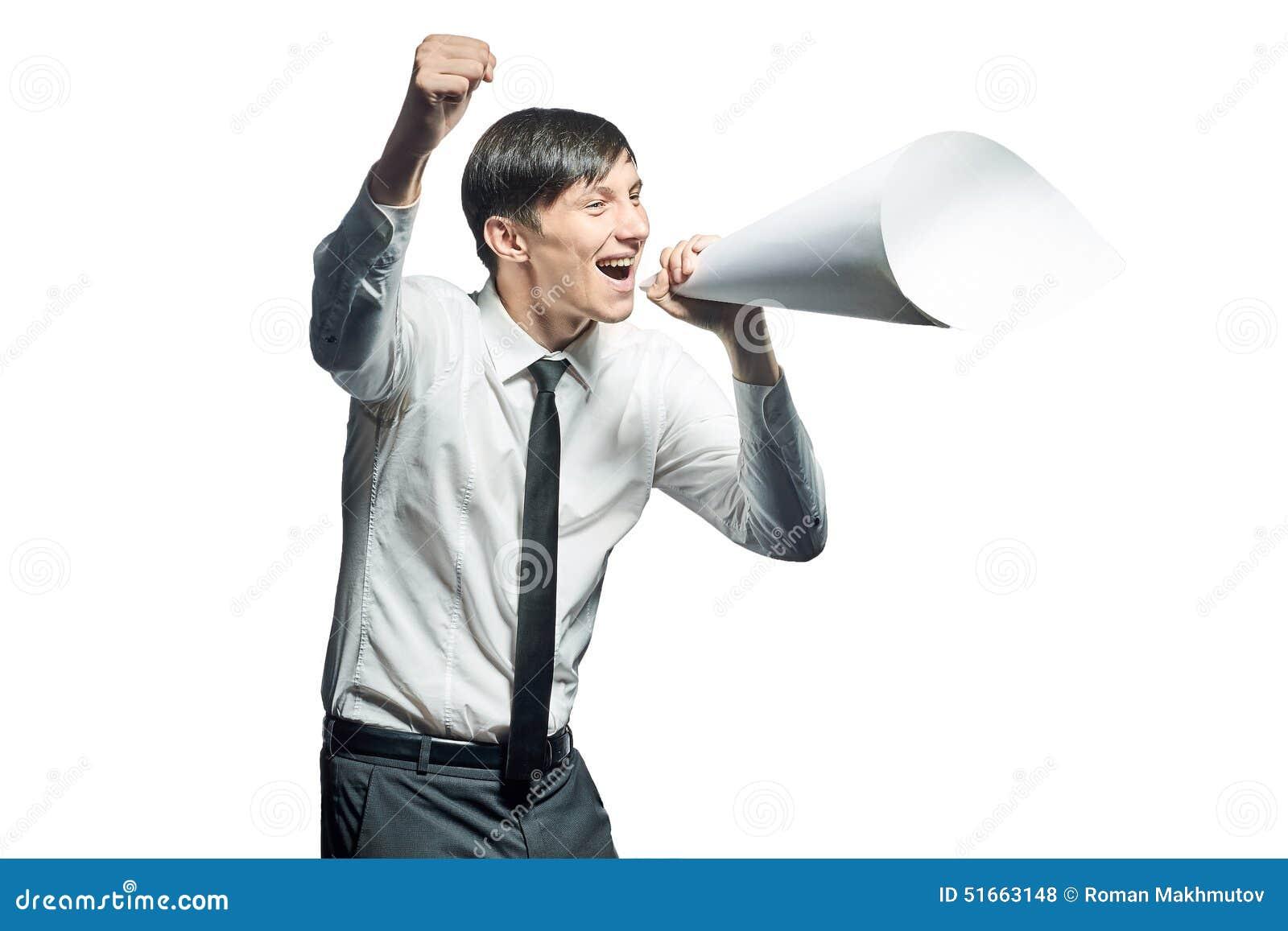 呼喊与纸扩音机的年轻商人