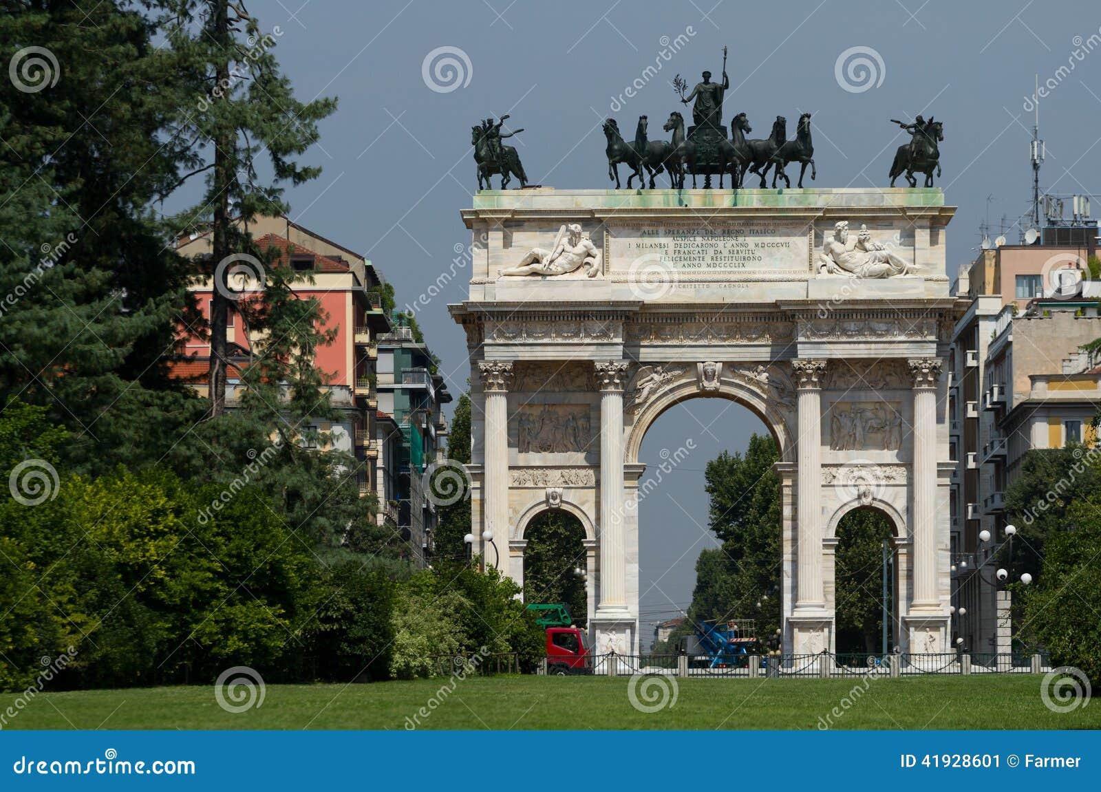 和平曲拱在Sempione公园,米兰