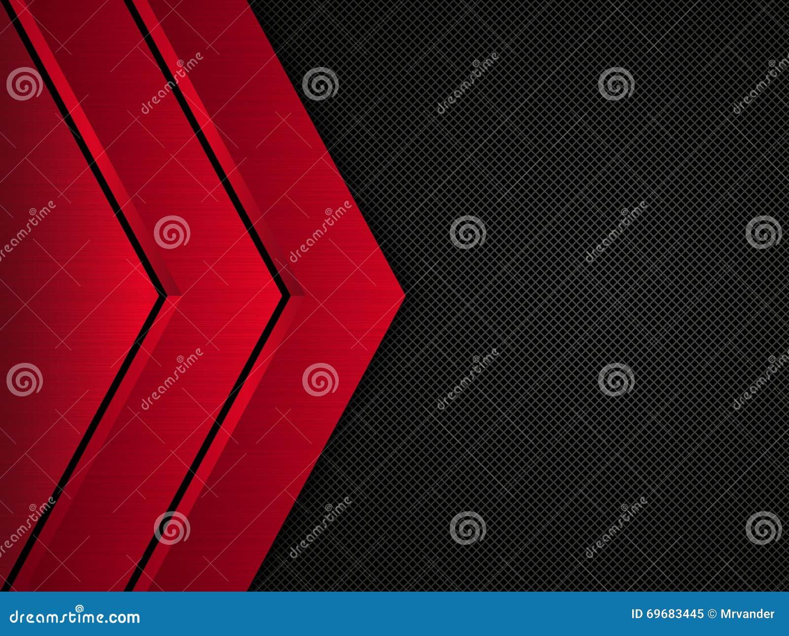 黑和红色金属背景 传染媒介金属横幅 抽象背景技术