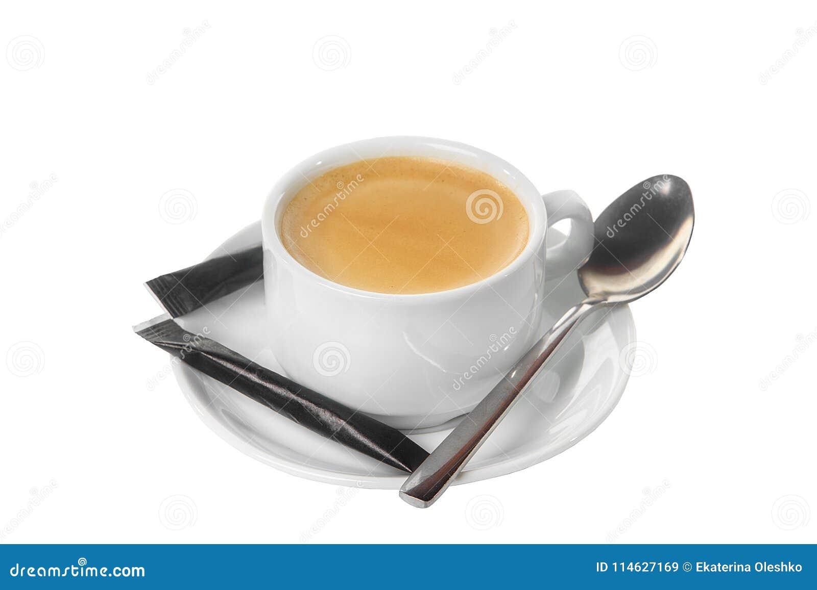 咖啡与糖被隔绝的白色的