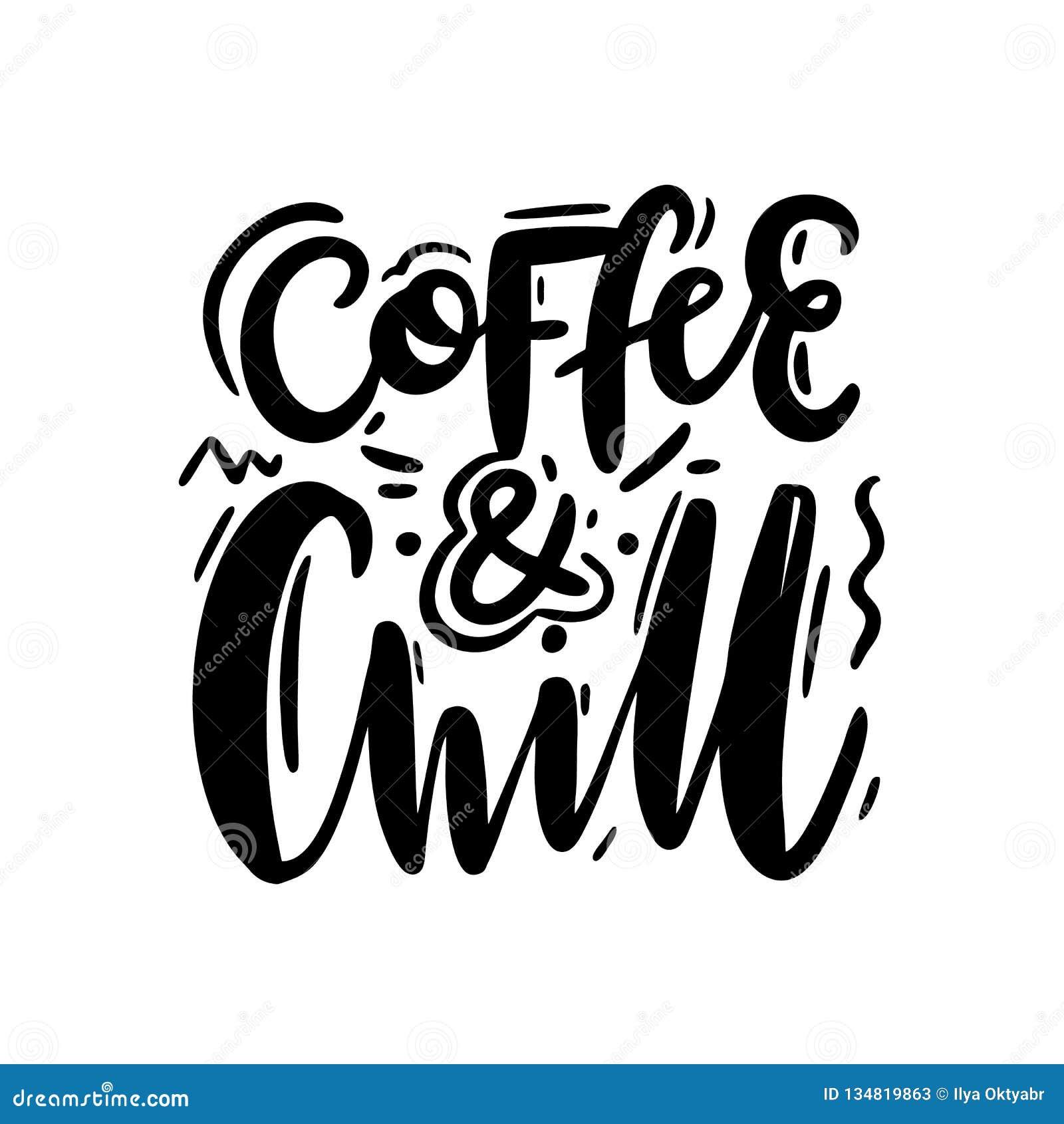 咖啡和冷颤 手拉的传染媒介字法 激动人心的行情