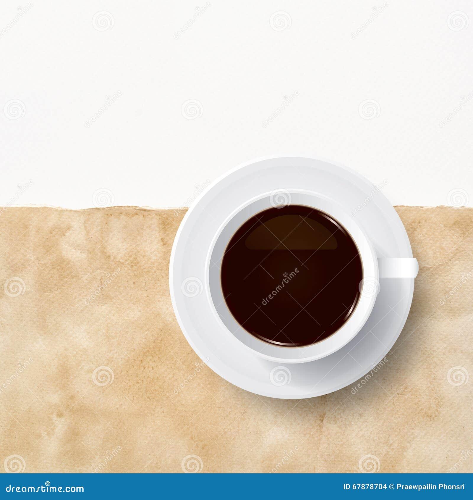咖啡在葡萄酒纸的与白皮书区域