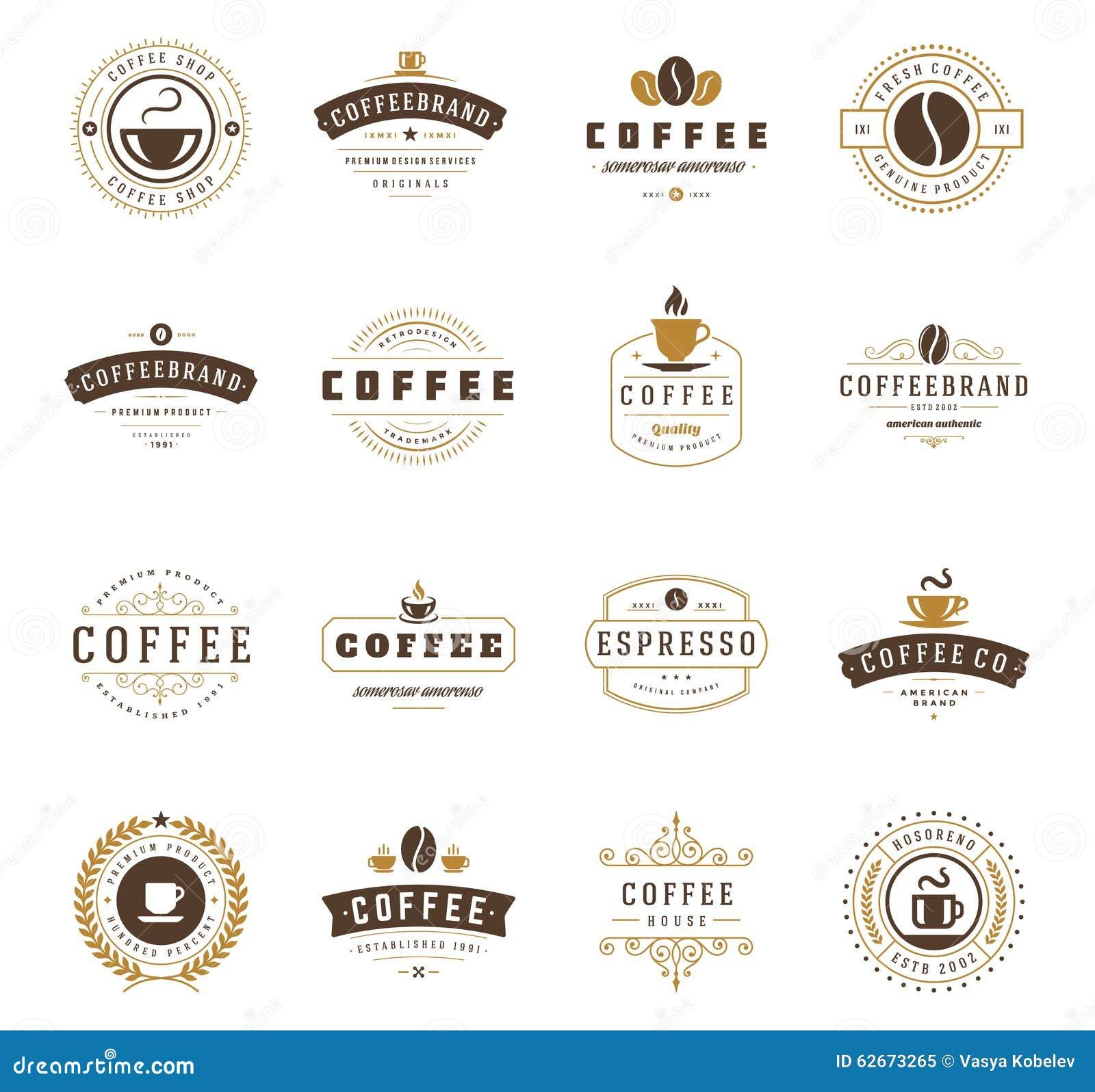 咖啡店商标、徽章和标签设计