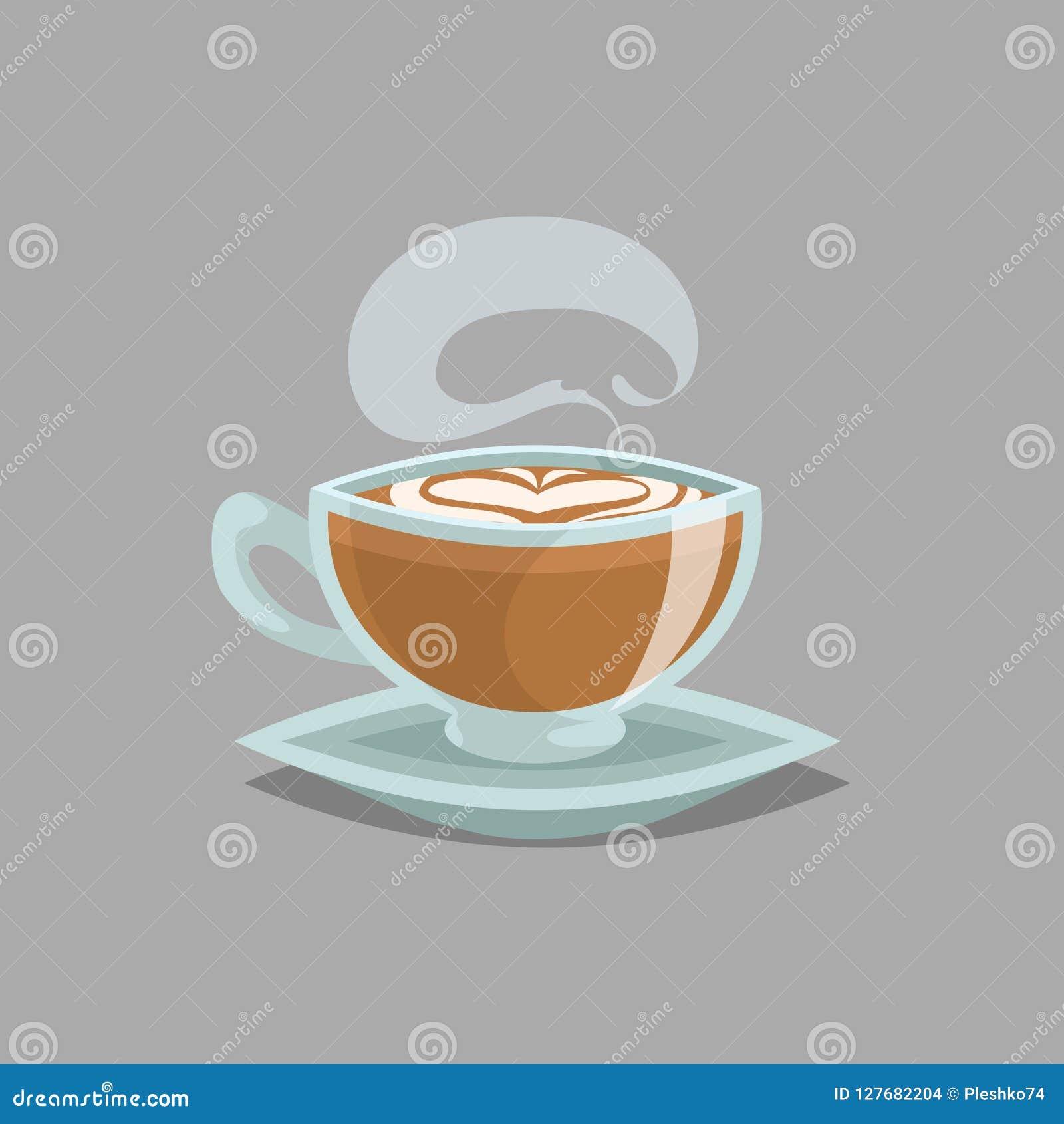 咖啡玻璃杯子用平的加奶咖啡和蒸汽 在上面的牛奶奶油色泡沫和心脏画 动画片减速火箭的样式 也corel凹道例证向量