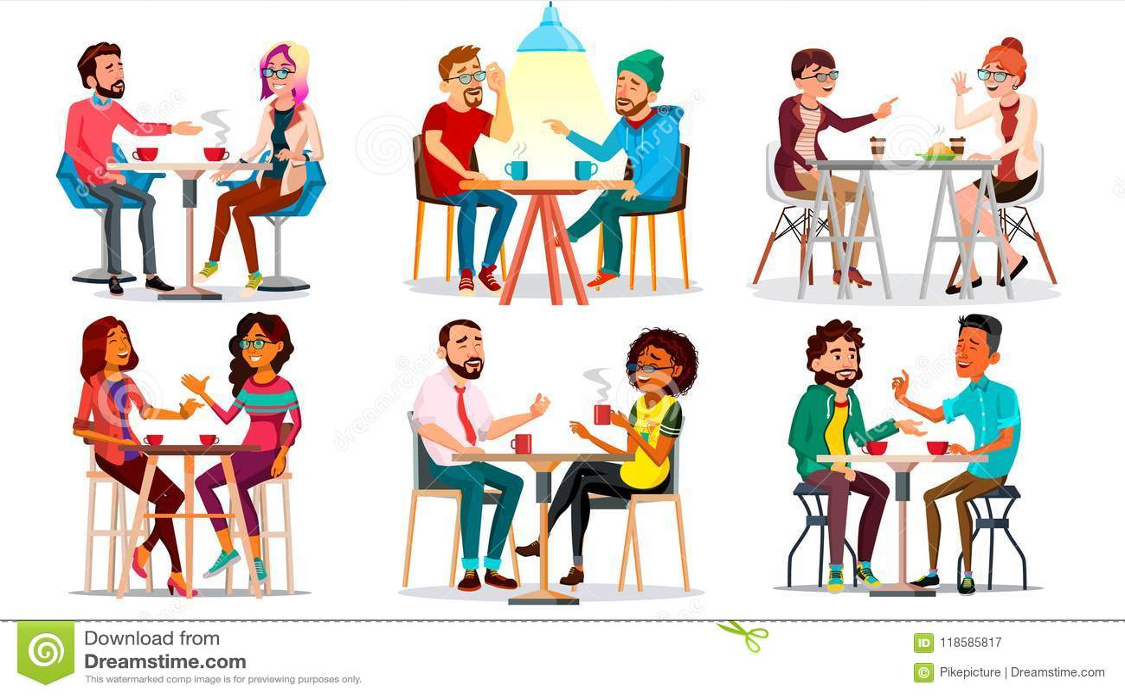 咖啡馆传染媒介的朋友 人,妇女,男朋友,女朋友 一起坐和饮用的咖啡 小餐馆,自助食堂