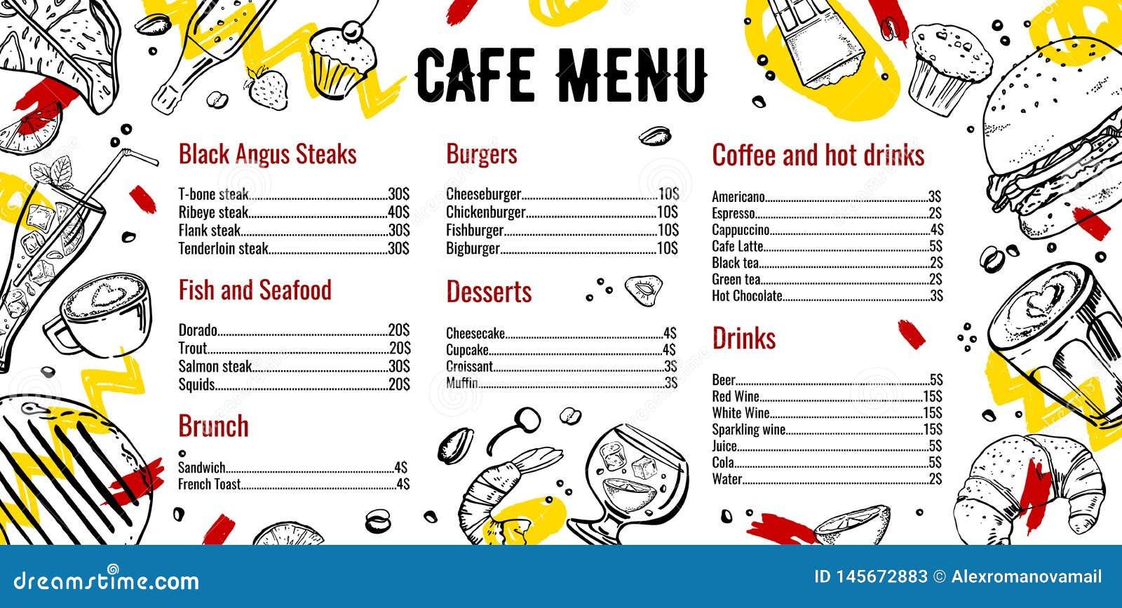 咖啡馆菜单与牛排、鱼、汉堡、饮料、咖啡和沙漠名单的设计模板