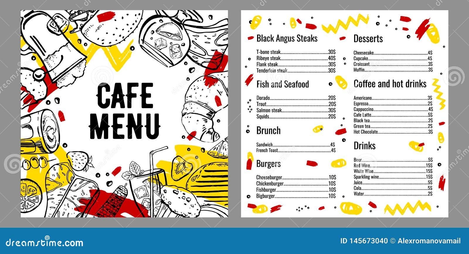 咖啡馆菜单两页与牛排、鱼、汉堡、饮料、咖啡和沙漠名单的设计模板